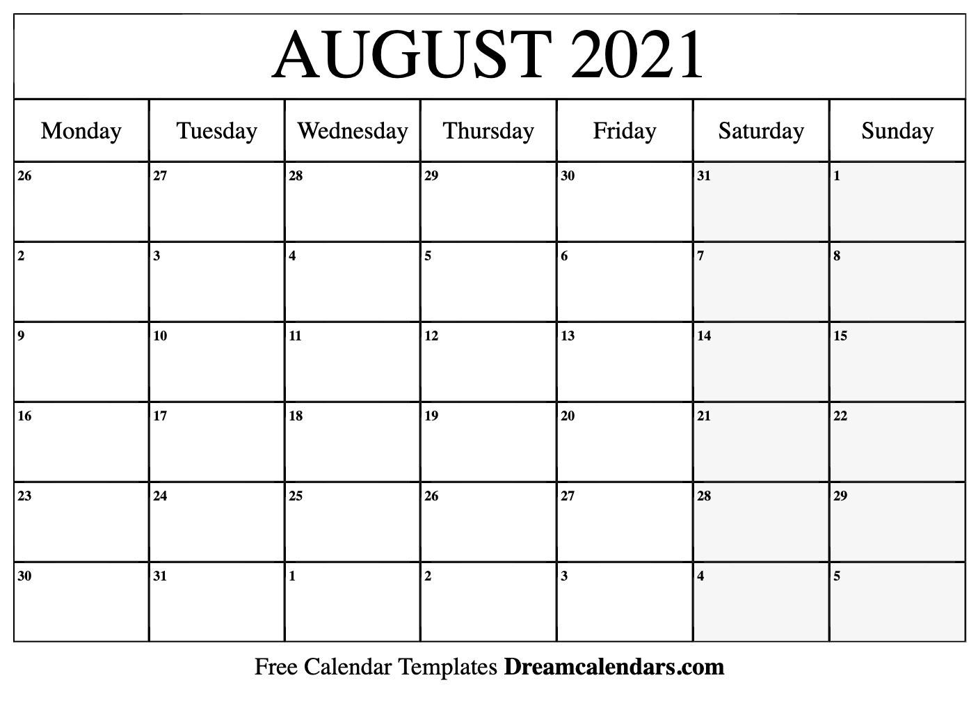 August 2021 Calendar | Free Blank Printable Templates-Free Blank No Date Printable Calendar 2021
