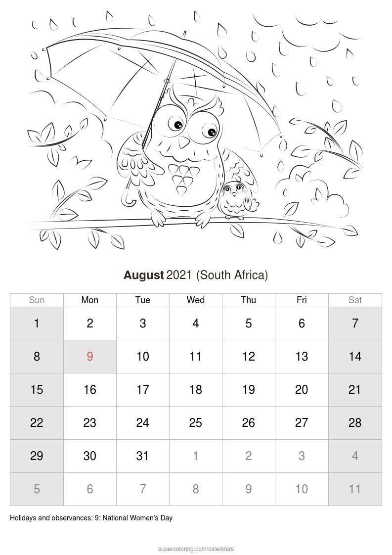 August 2021 Calendar - South Africa-Calendar 2021 South Africa Free Printable