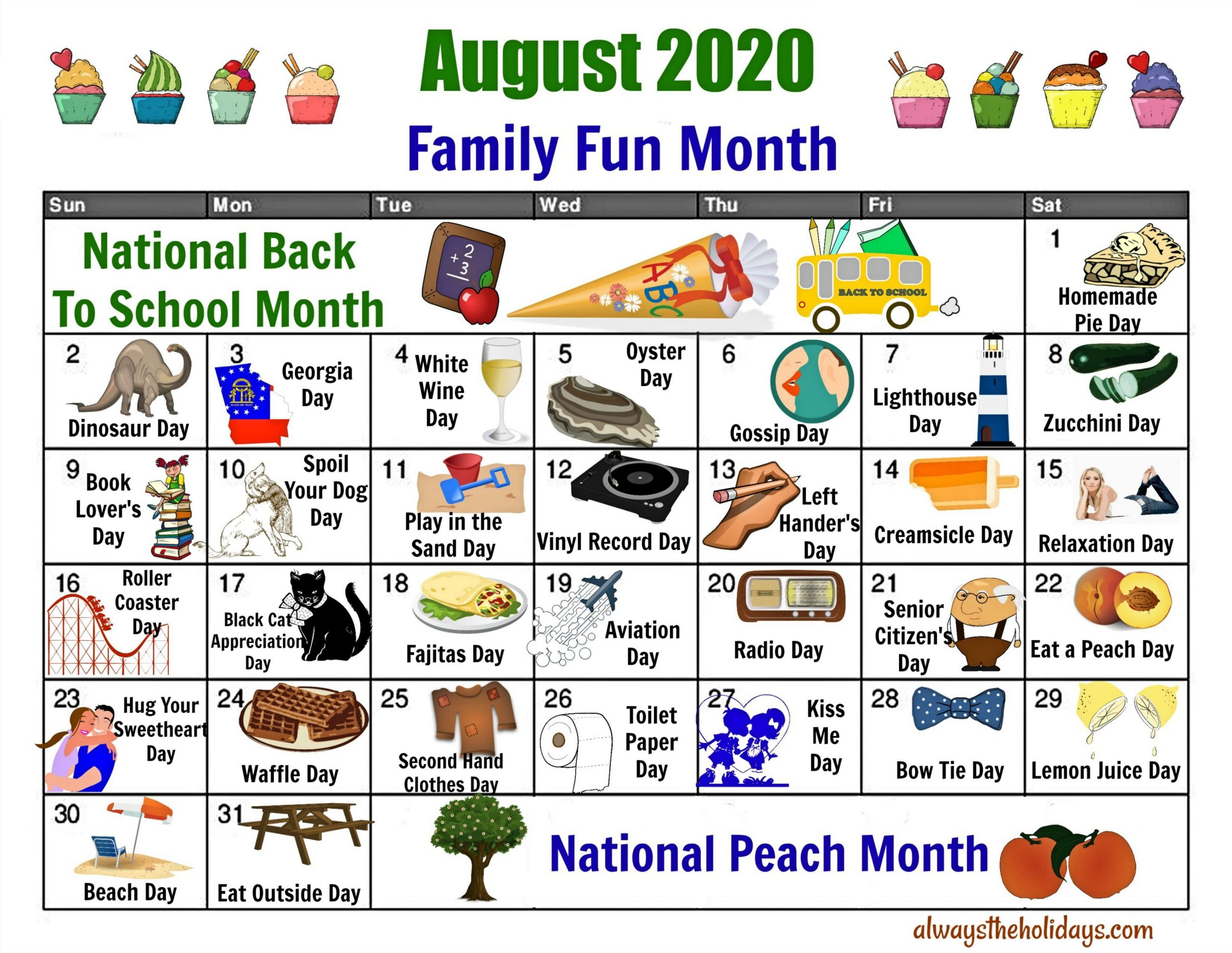 August National Day Calendar - Free Printable Of National Days-Fun National Day Calendar Of 2021 Printable