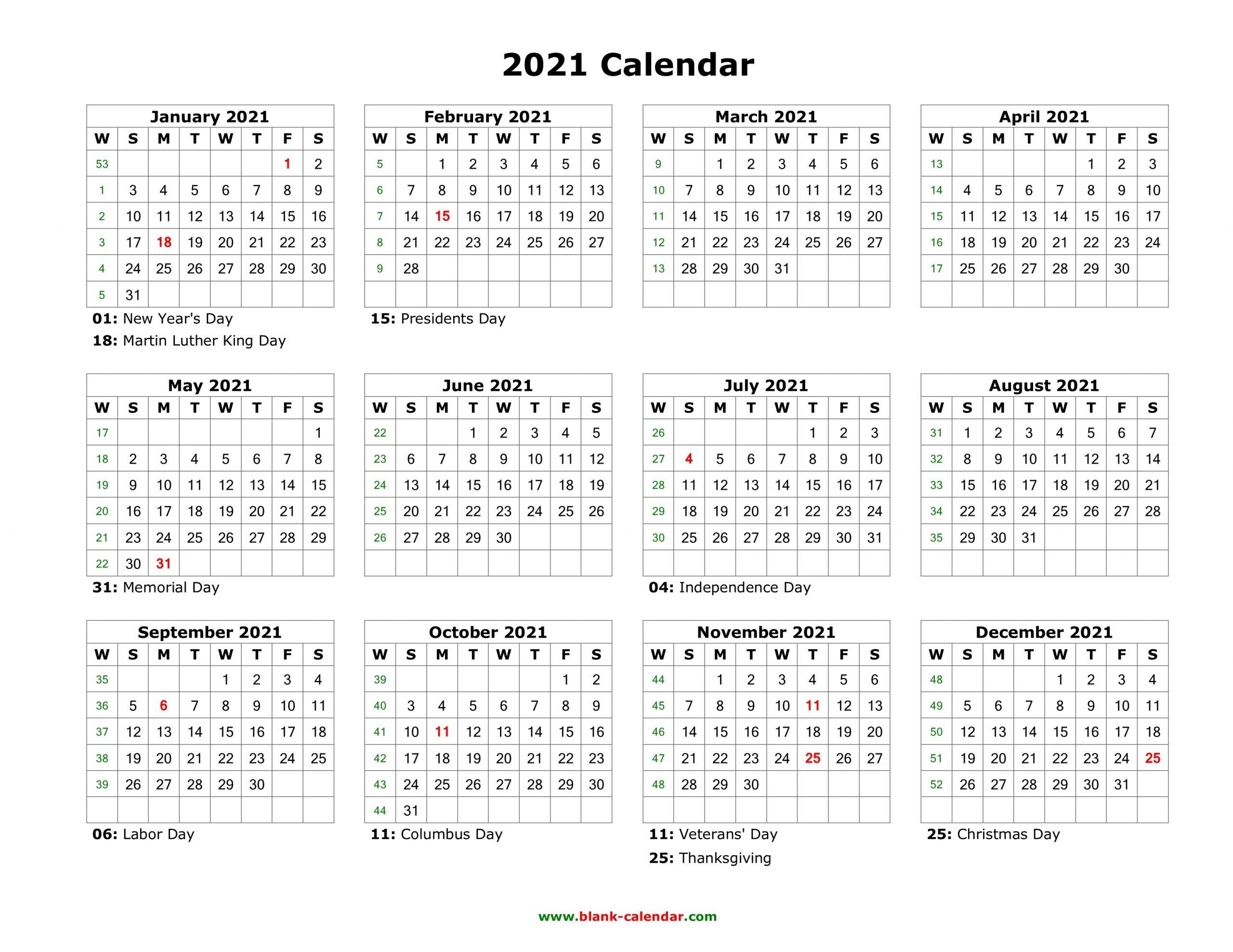 Blank Calendar 2021 | Free Download Calendar Templates-2021 Monthly Calendar Template Word