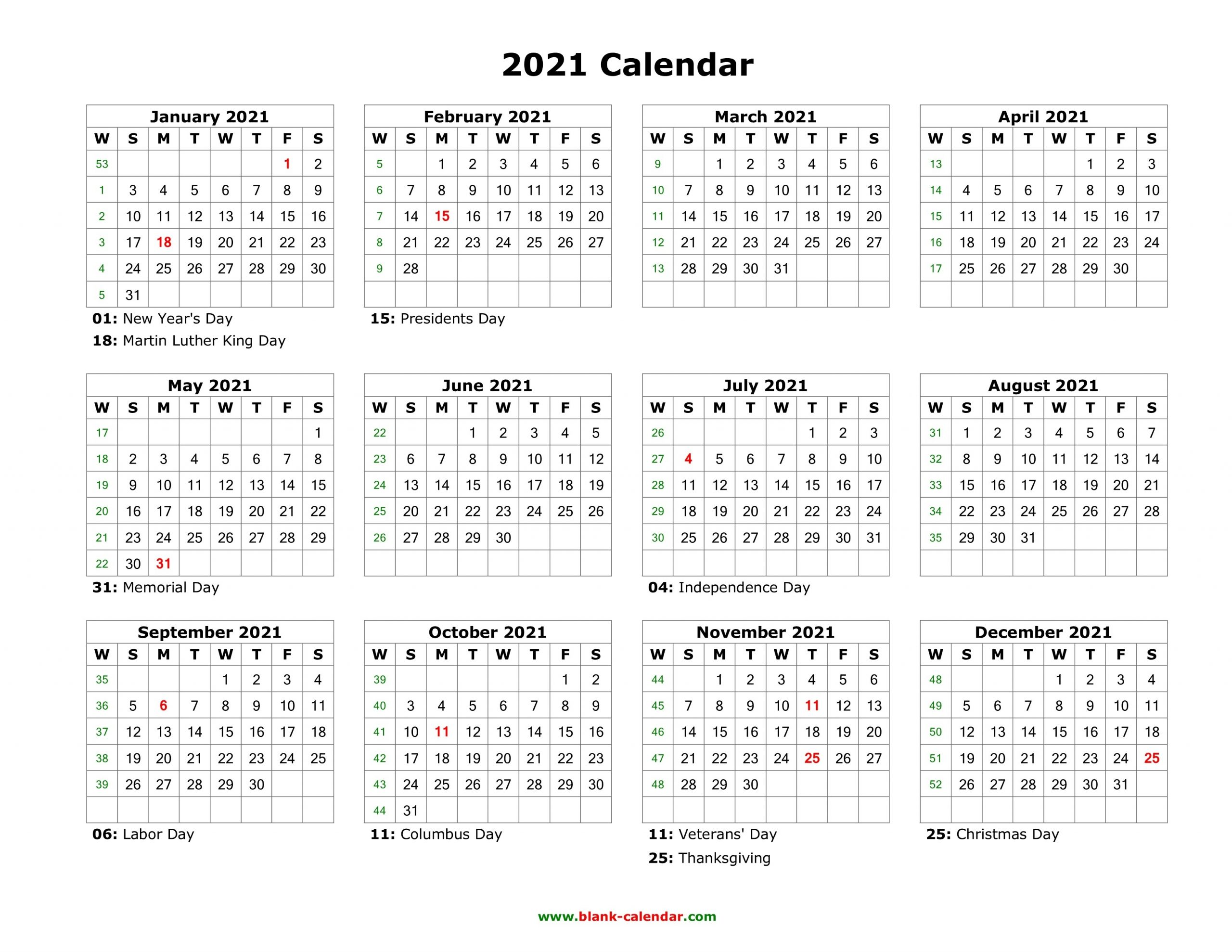 Blank Calendar 2021 | Free Download Calendar Templates-Free Printable Blank Monthly Calendar Year 2021