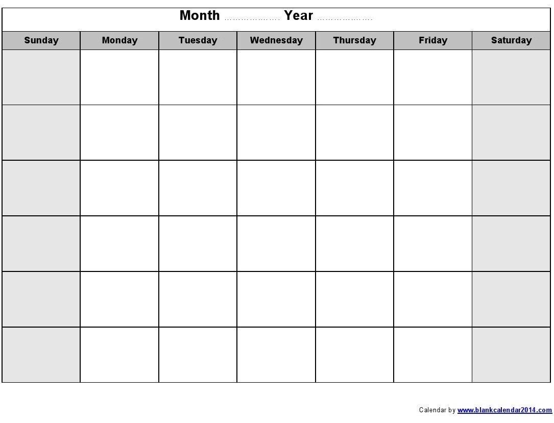 Blank Monthly Calendar 2014 Printable   Blank Monthly-Sundat To Saturday Printable Monthly Blank Calendar