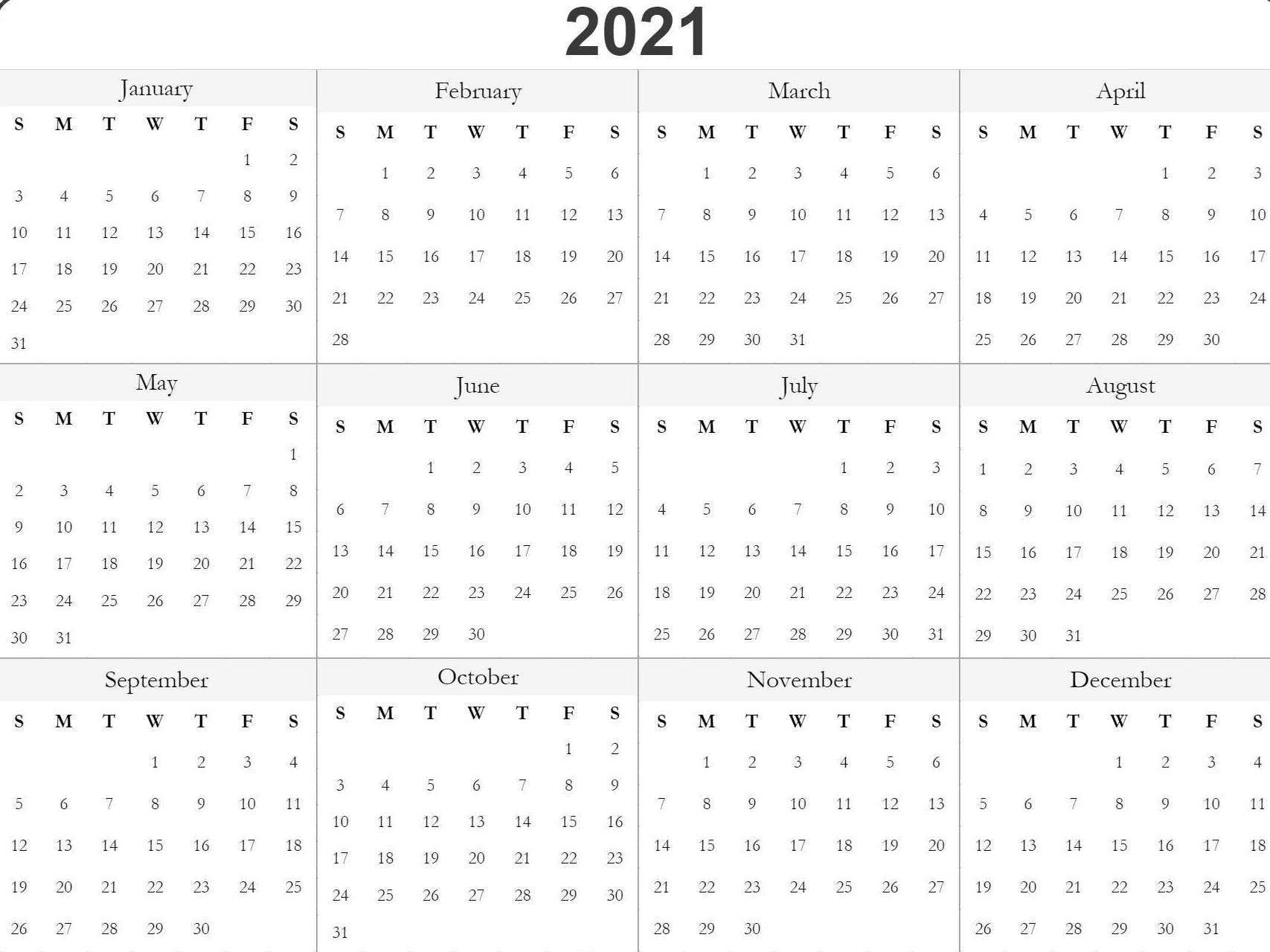 Blank Printable 2021 Calendar Template | Free Printable-2021 Calendar Printable