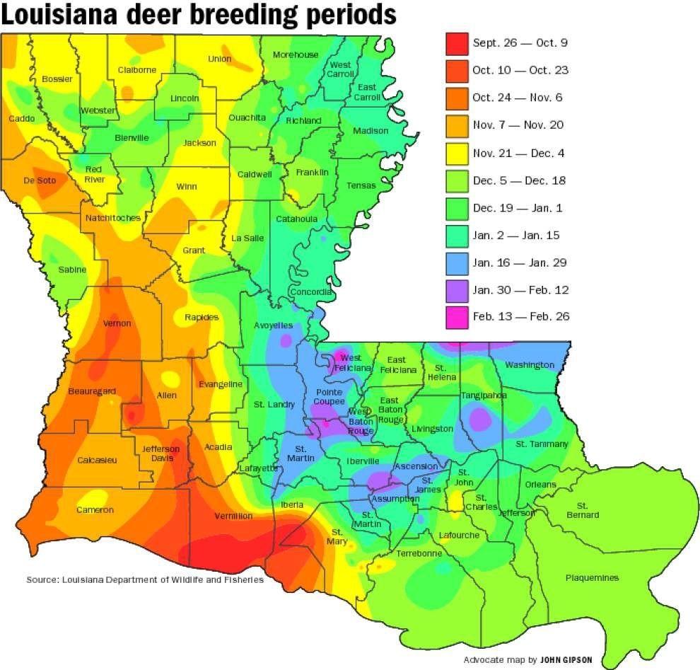 Buck Breeding Calendar Most Complete Ever   Louisiana-Peak Rut Predictions For 2021