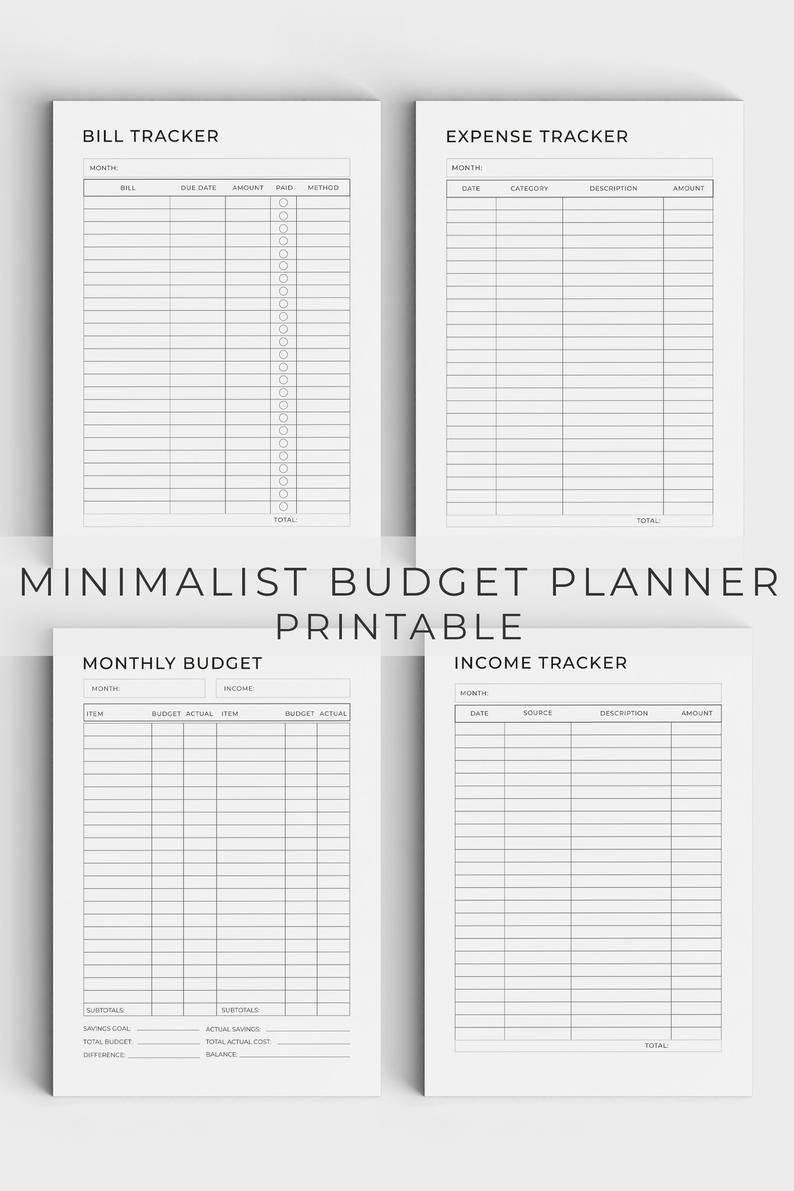 Budget Planner Printable Budget Planner Minimalist Planner-2021 Printable Bill Planner