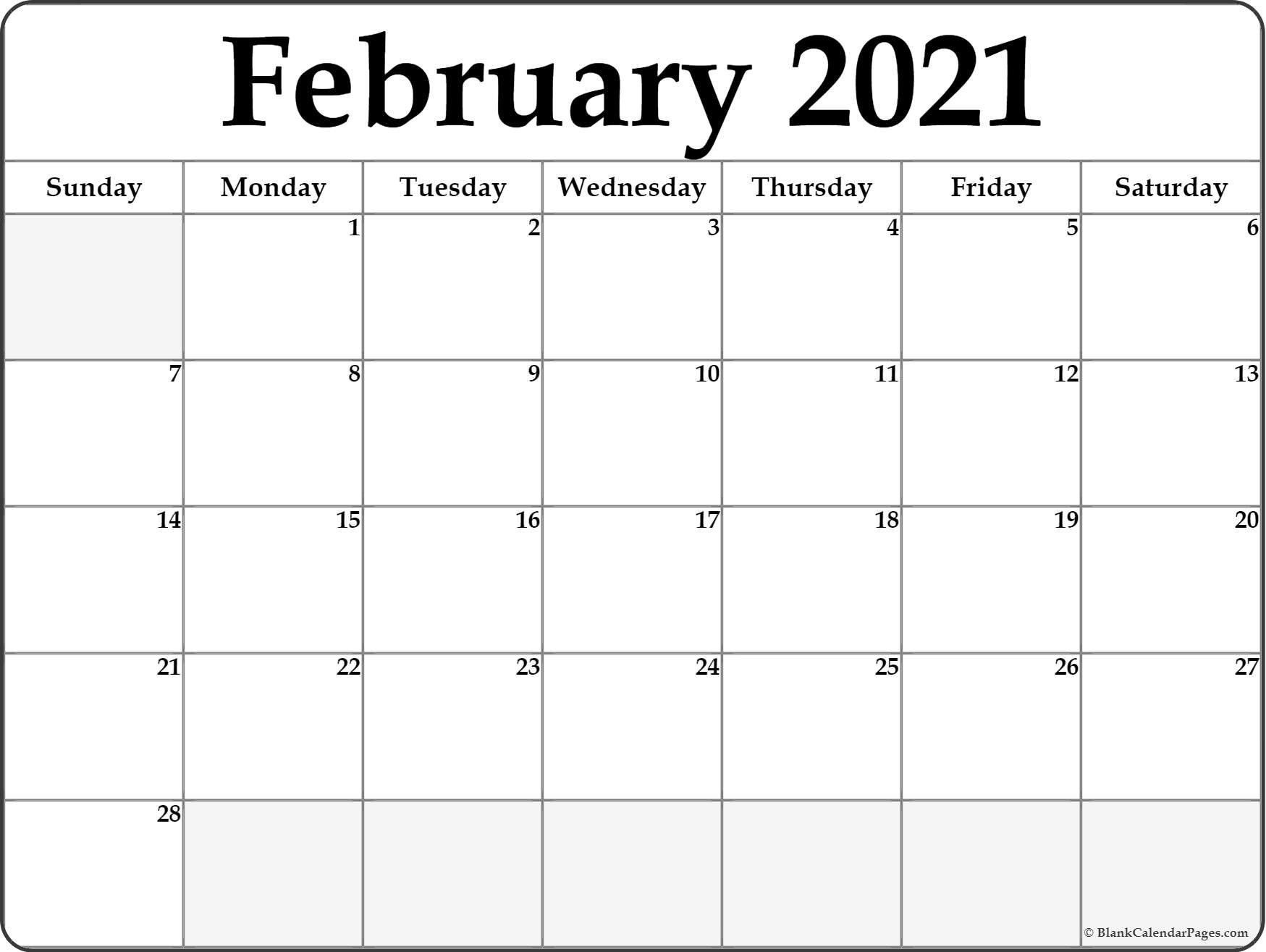 Calendar 2021 January February Blank   February Calendar-2021 Monthly Fill In The Blanks Print Out
