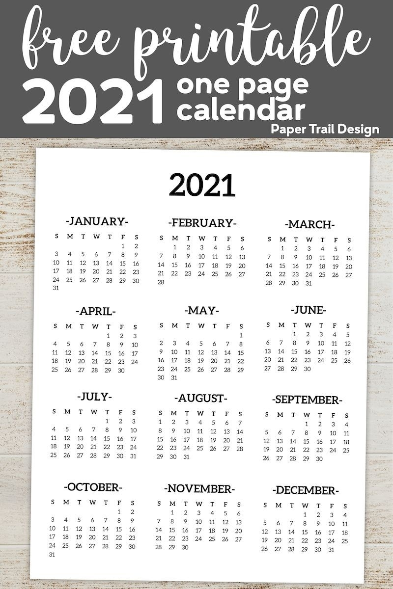 Calendar 2021 Printable One Page | Paper Trail Design-2021 2 Page Per Month May Calendar Picture
