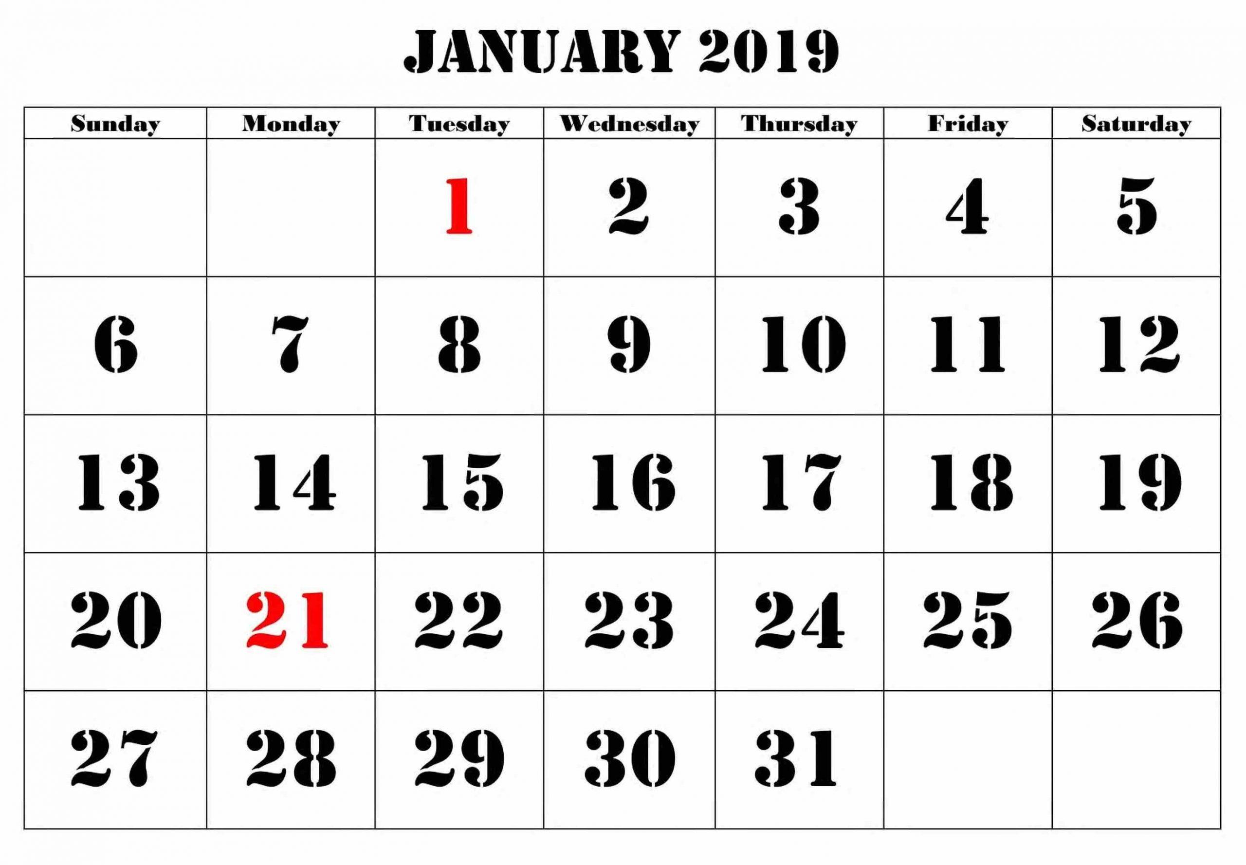 Calendar January 2019 Large Number #Januarycalendar-Printable Calendars Large Numbers