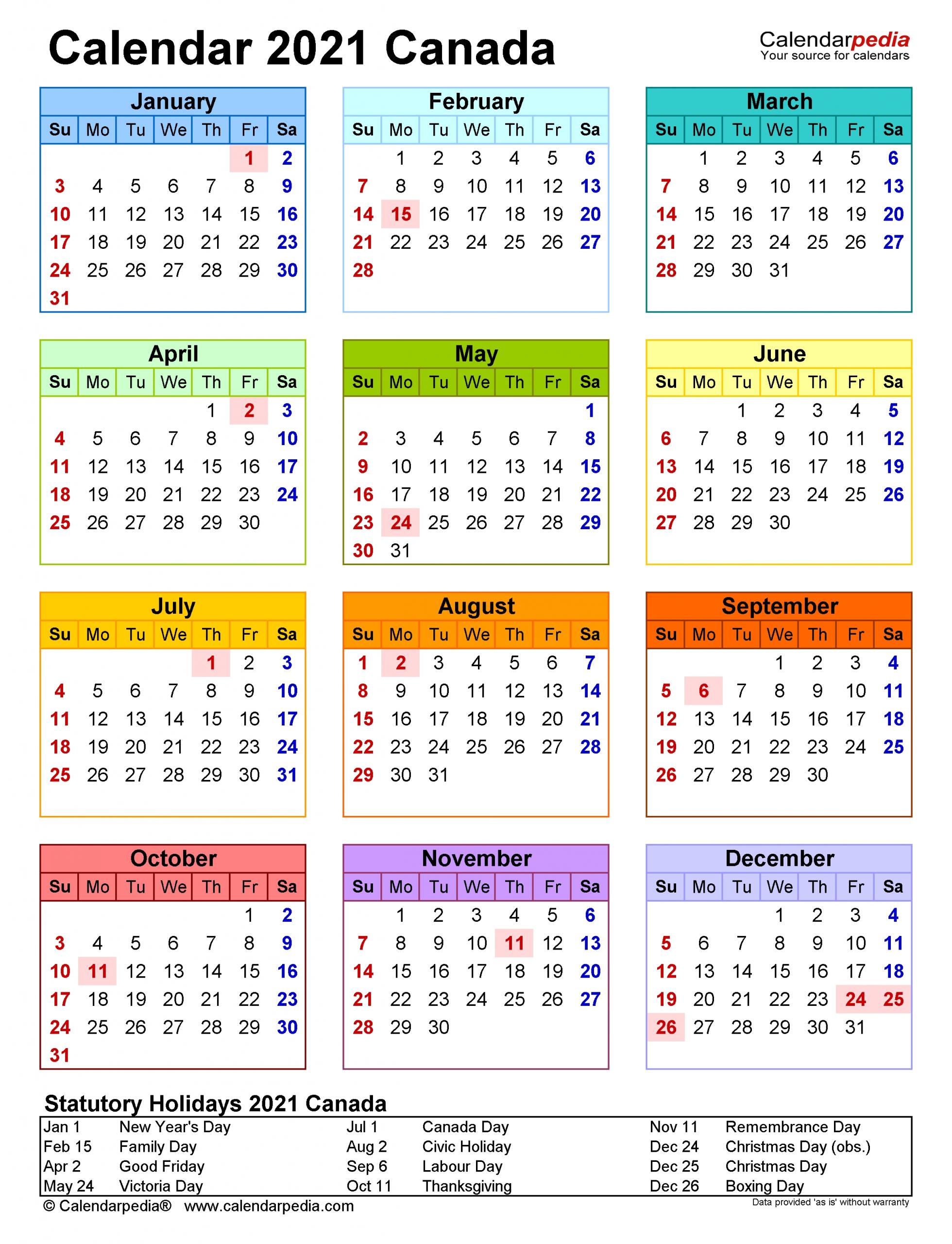 Canada Calendar 2021 - Free Printable Excel Templates-2021 Vacation Schedule