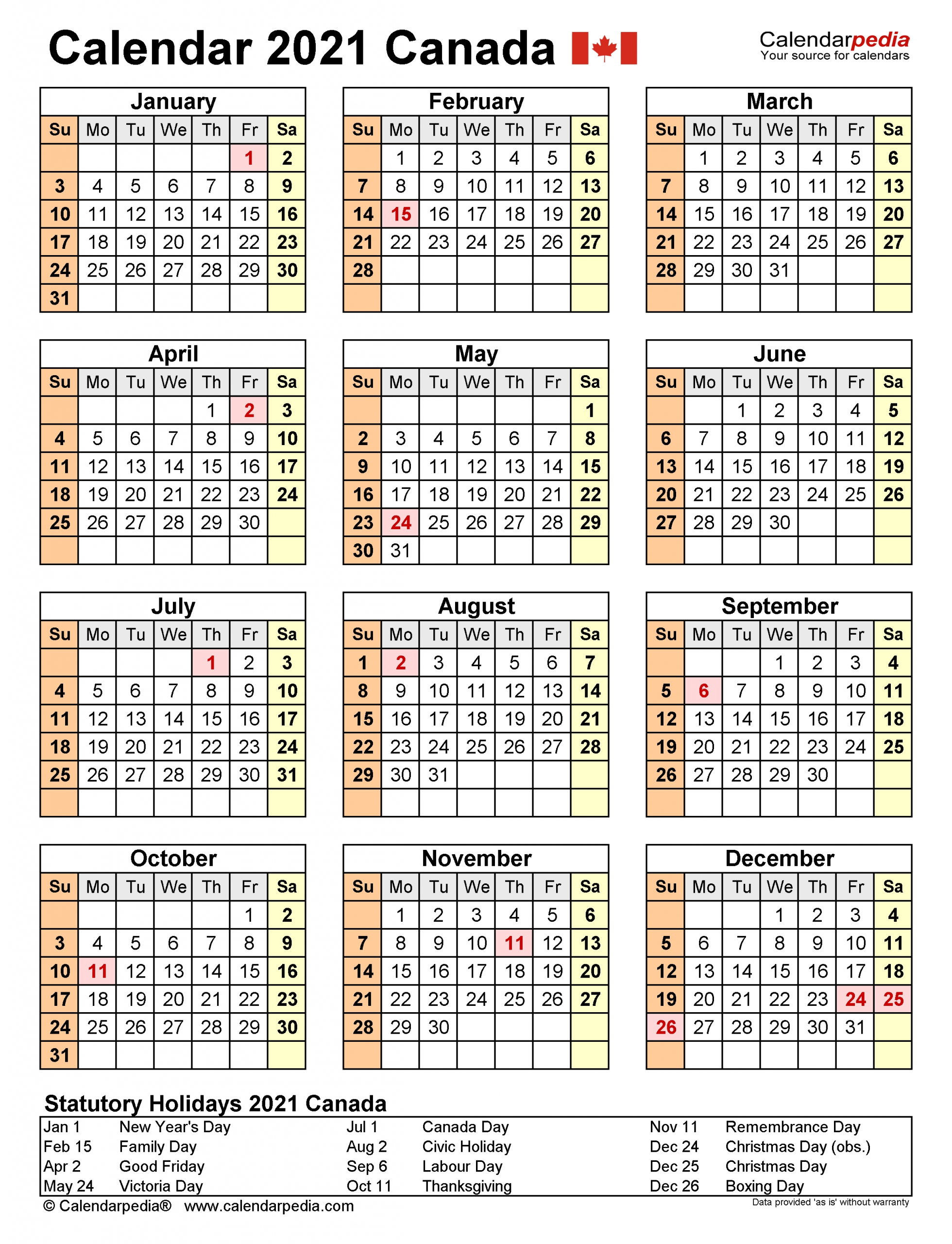 Canada Calendar 2021 - Free Printable Excel Templates-Attendance Calendars 2021