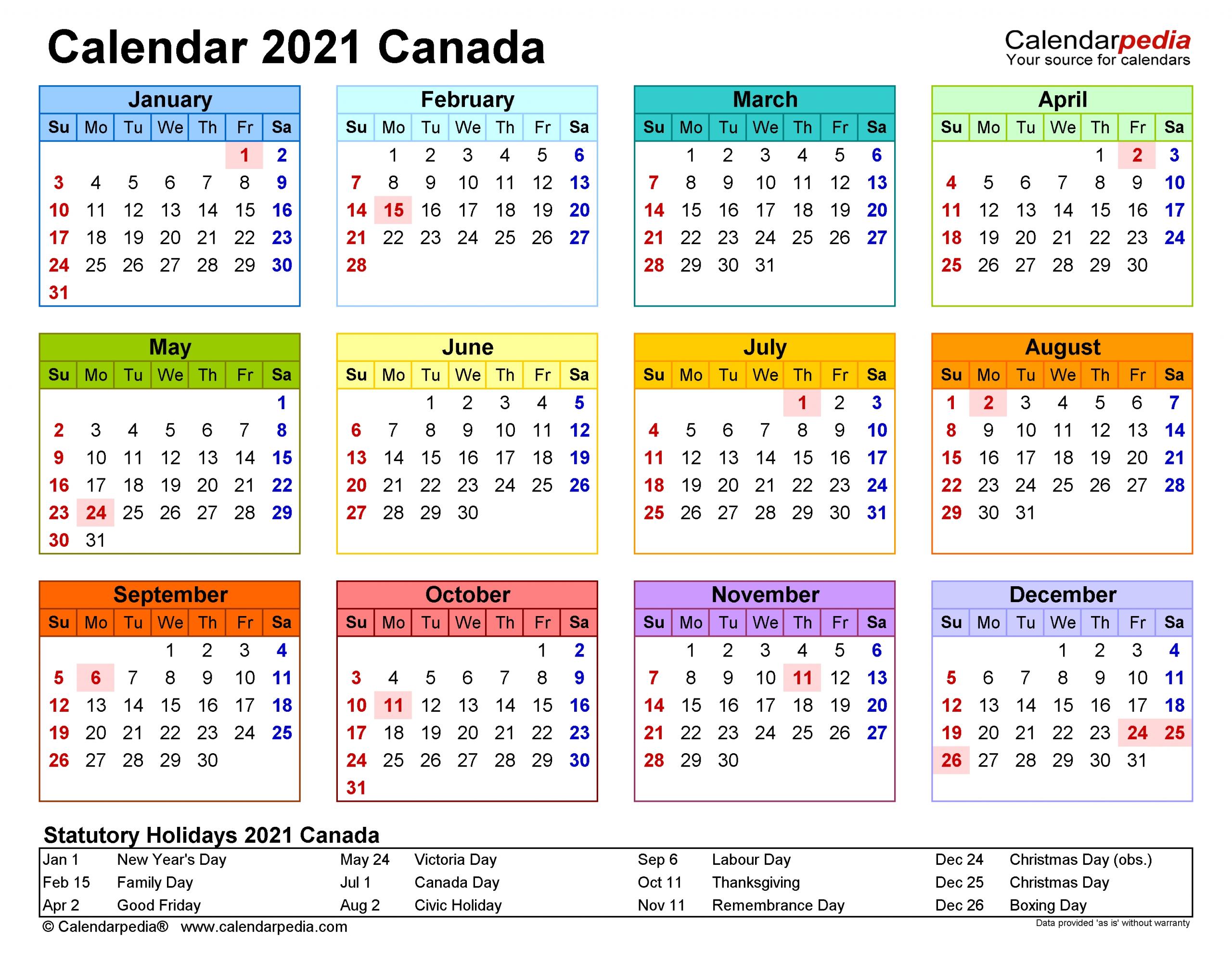 Canada Calendar 2021 - Free Printable Pdf Templates-June 2021 Calendar Free Printable 81/2 X 11