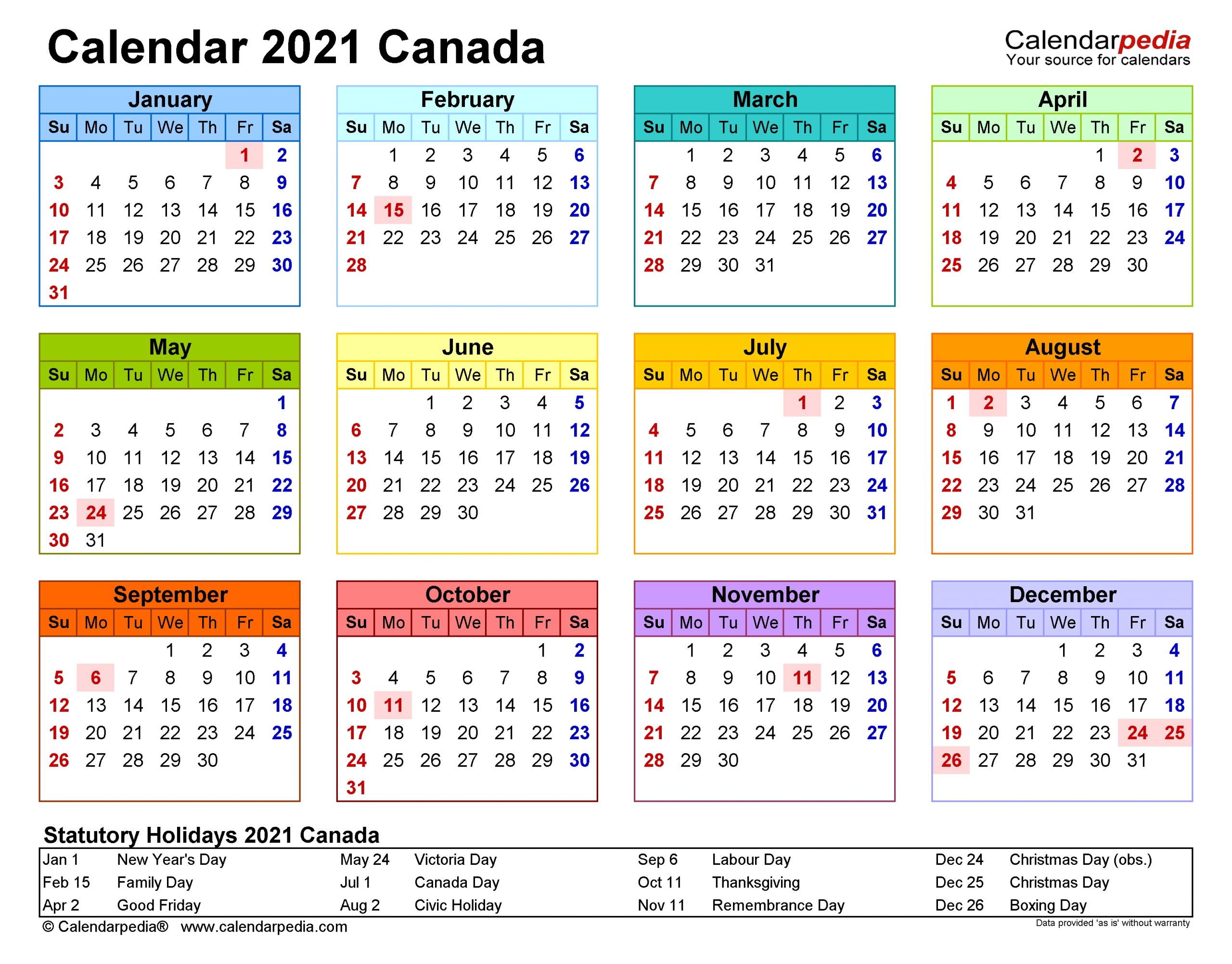 Canada Calendar 2021 - Free Printable Pdf Templates-Printable 2021 Weekly Monthly 81/2 X 11