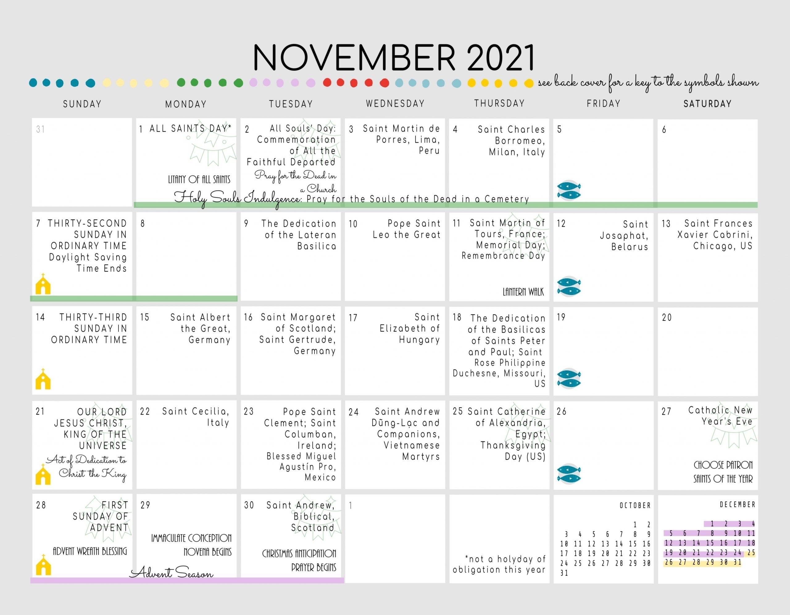 Catholic All Year 2021 Liturgical Calendar With Prayer Art *Digital  Download*-Catholic Church Year 2021