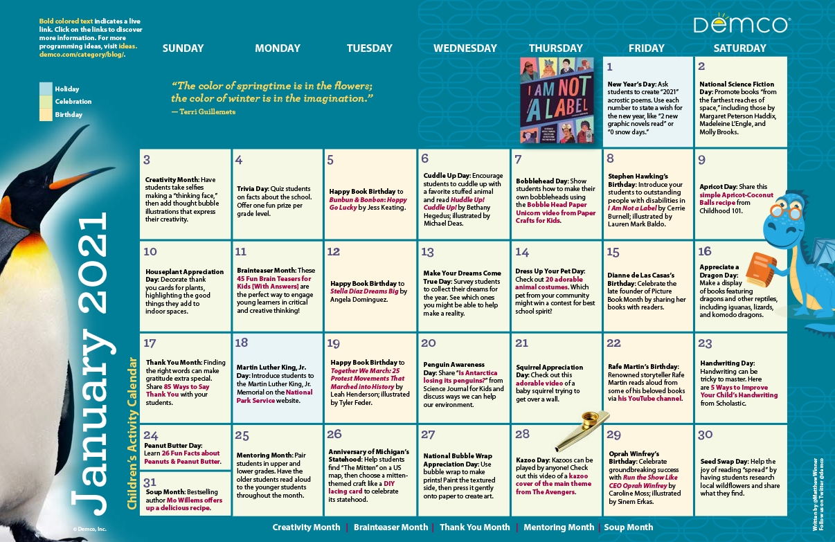 Children'S Programming Calendar: January 2021-2021 Activity Calendar Printable