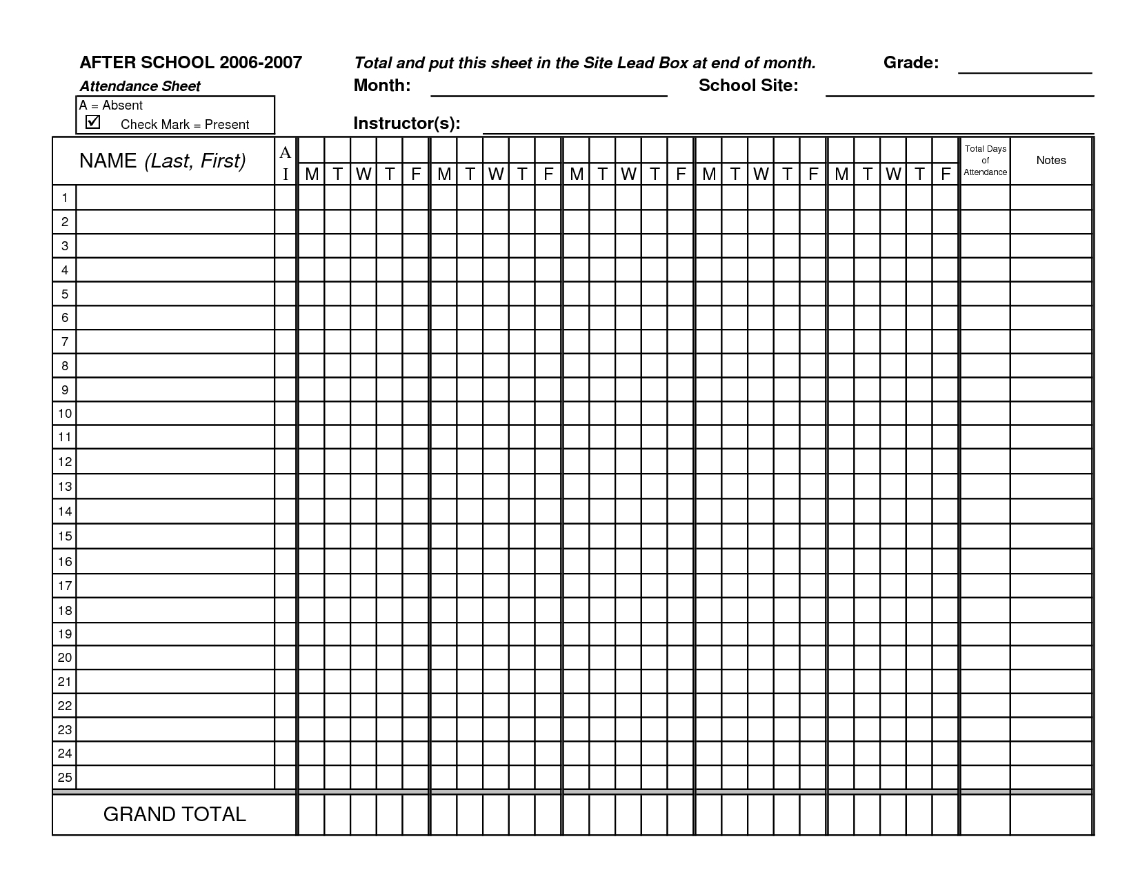 Class Attendance Sheets - Get As Excel   Attendance Sheet-Free Attendance Sheet Pdf 2021