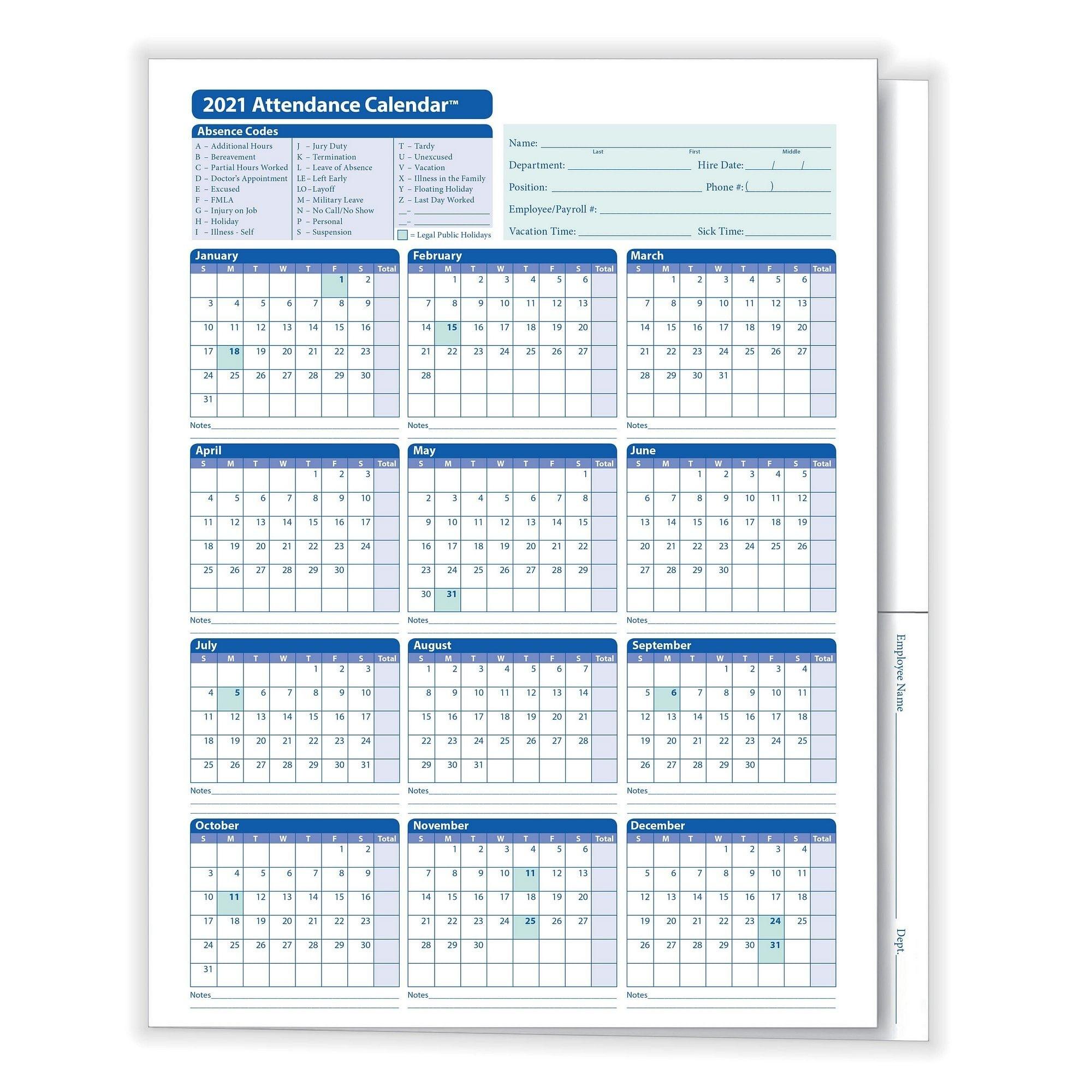 Complyright 2021 Attendance Calendar Folder, White, Pack Of 25-Attendance Calendars 2021
