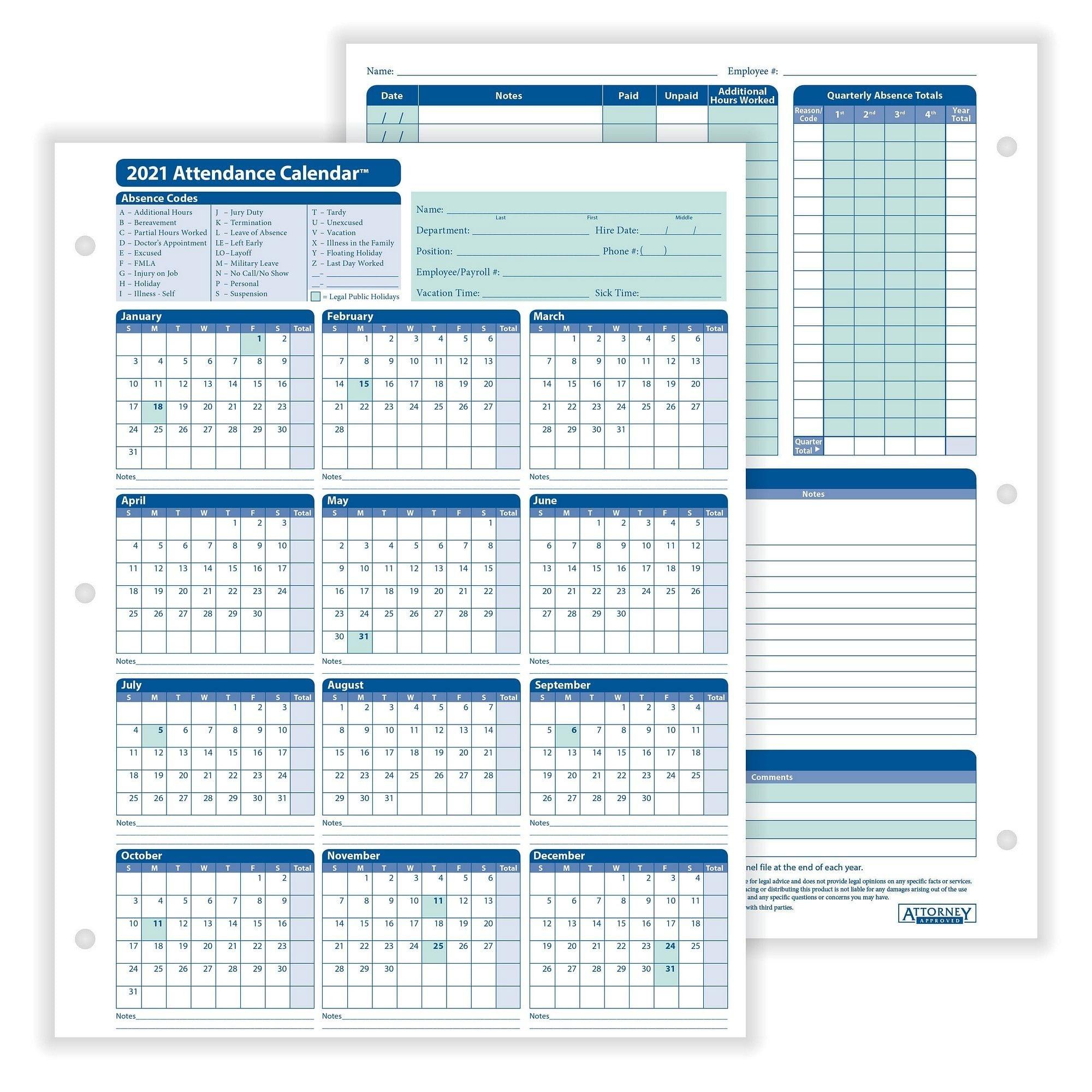 "Complyright 2021 Attendance Calendar, White, 8-1/2"" X 11"" - 50 Per Pack-Printable 2021 Atteance Calendar"