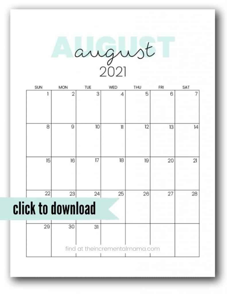 August 2021 Printable Bill   Calendar Template Printable