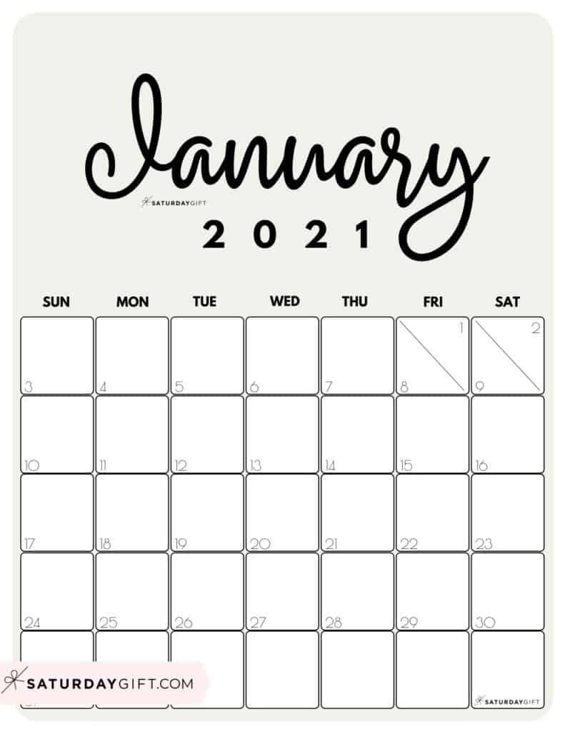 Cute (& Free!) Printable January 2021 Calendar | Saturdaygift-2021 Calendar Printable
