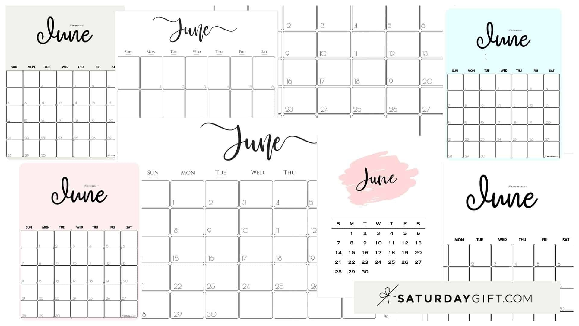 Cute (& Free!) Printable June 2021 Calendar | Saturdaygift-June 2021 Calendar Legal Print Size