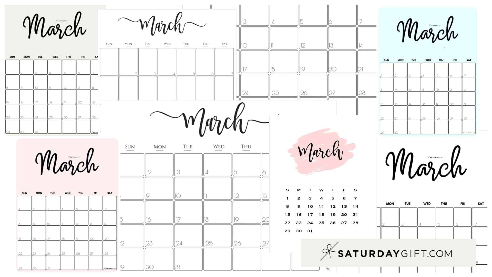 Cute (& Free!) Printable March 2021 Calendar | Saturdaygift-2021 Monthly Calendar Printable 2 Page