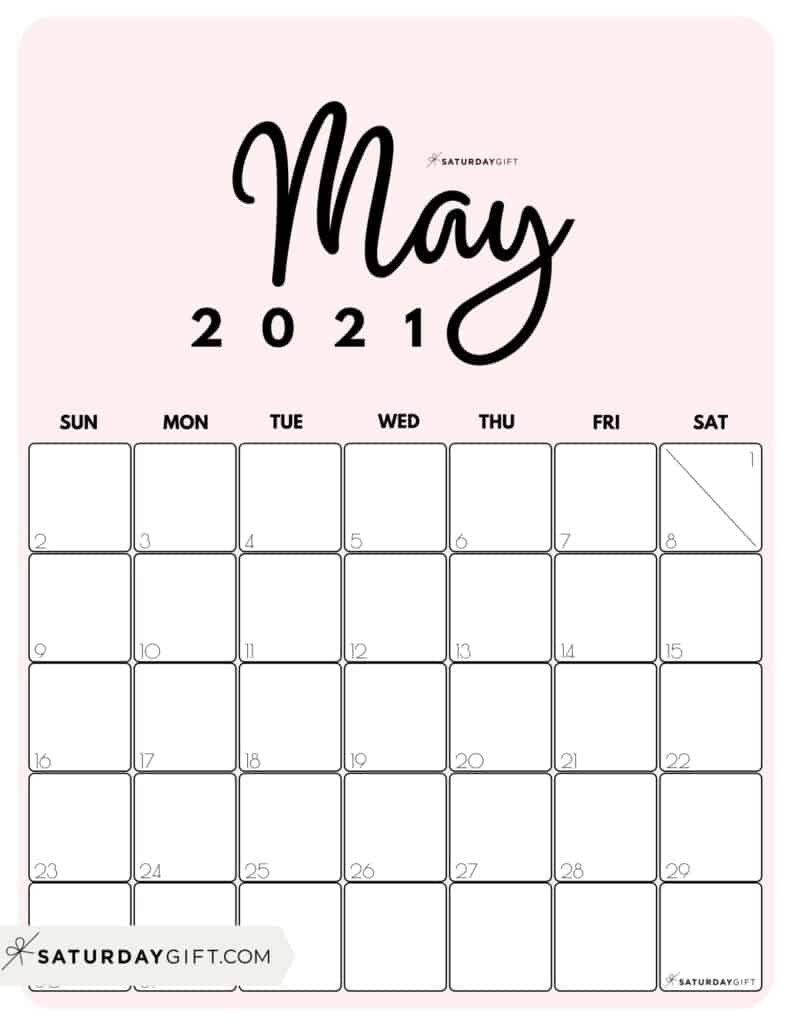Cute (& Free!) Printable May 2021 Calendar | Saturdaygift-2021 Calendar Free Printable-Monthly Bills