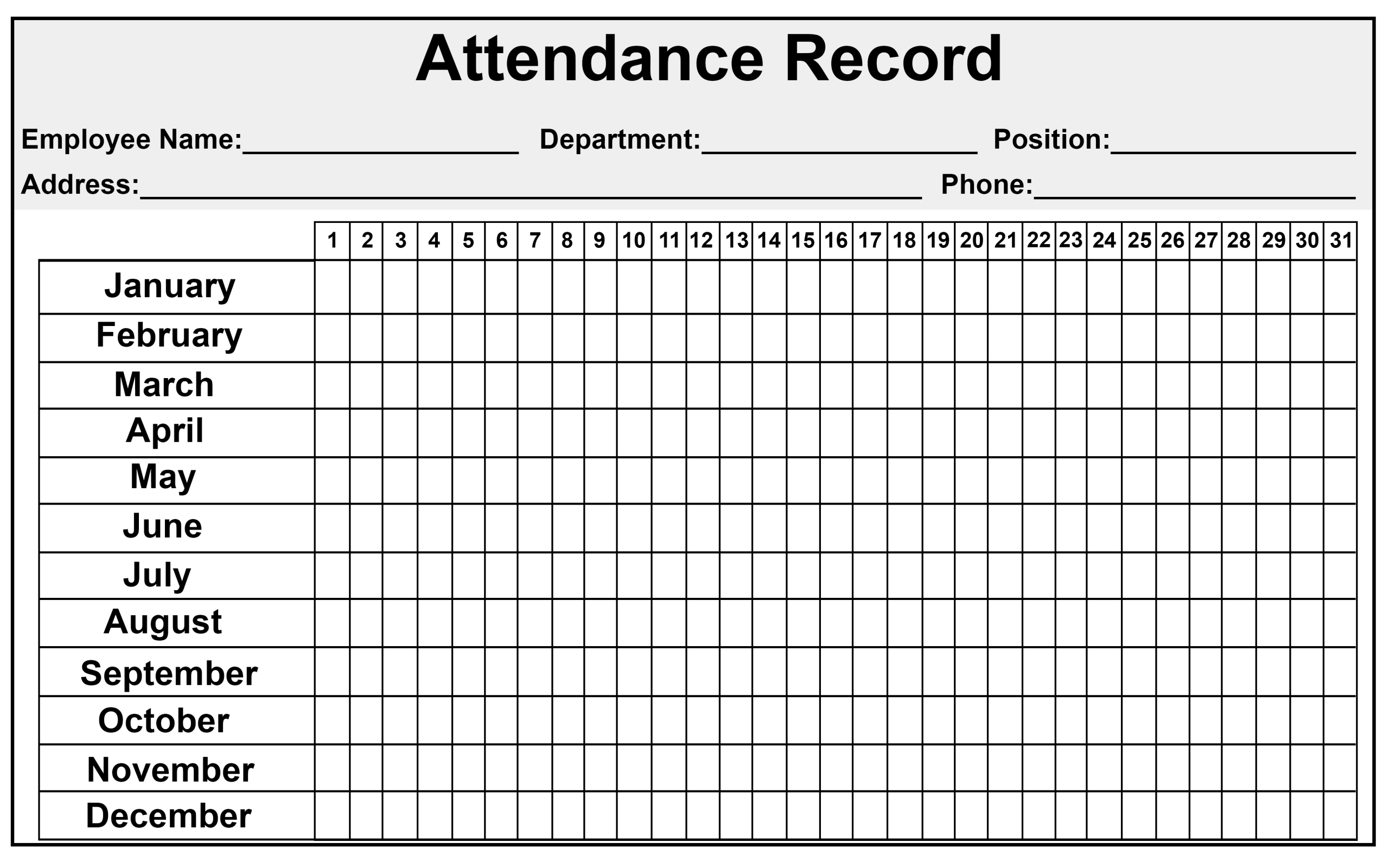 Daily/Monthly Employee Attendance Sheet Template Free   How-Free Attendance Sheet Pdf 2021