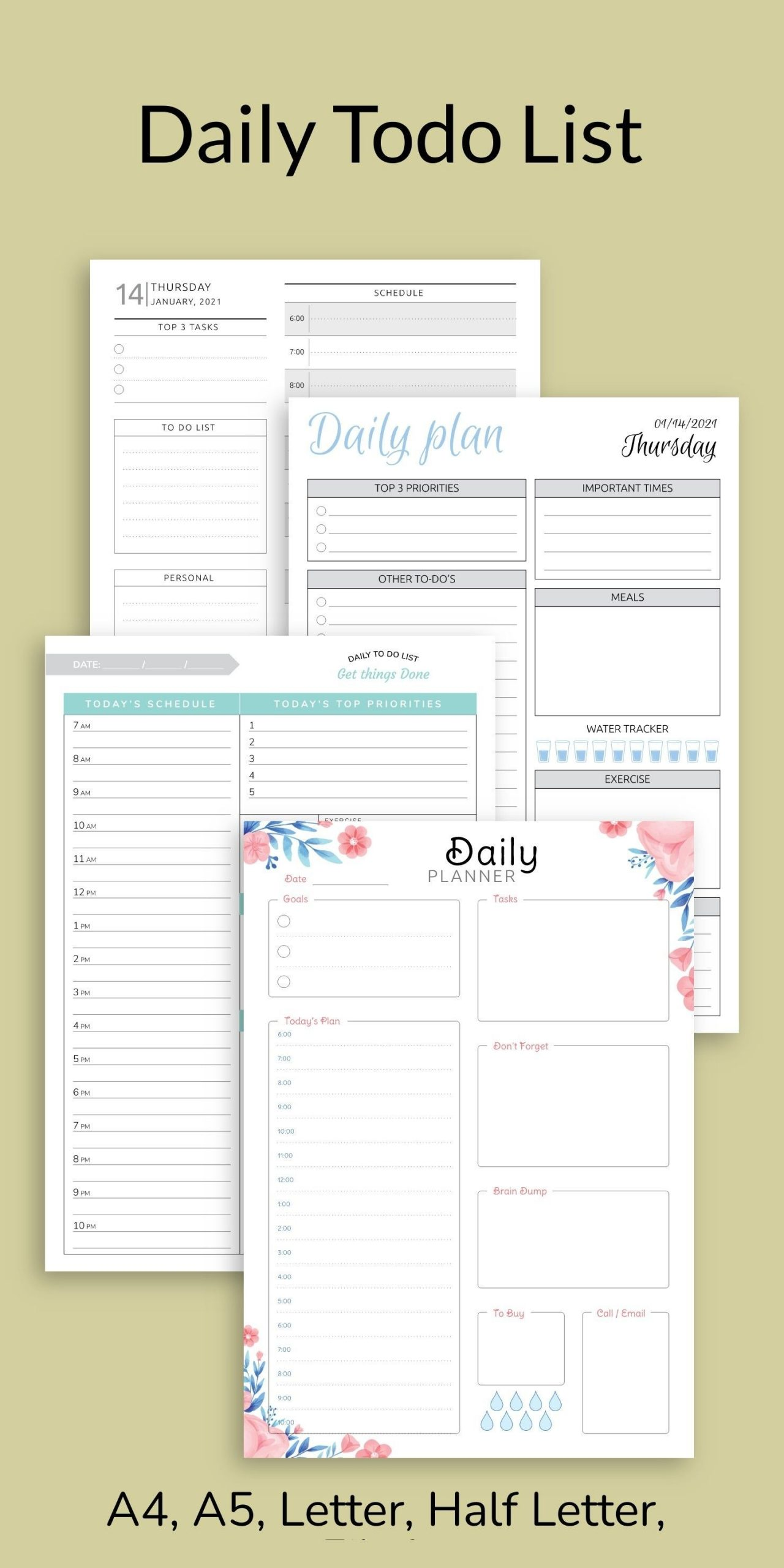 Daily Planner Printable Daily Hourly Schedule Template Am/Pm-Calendar January 2021 Hourly Daily Task List Template