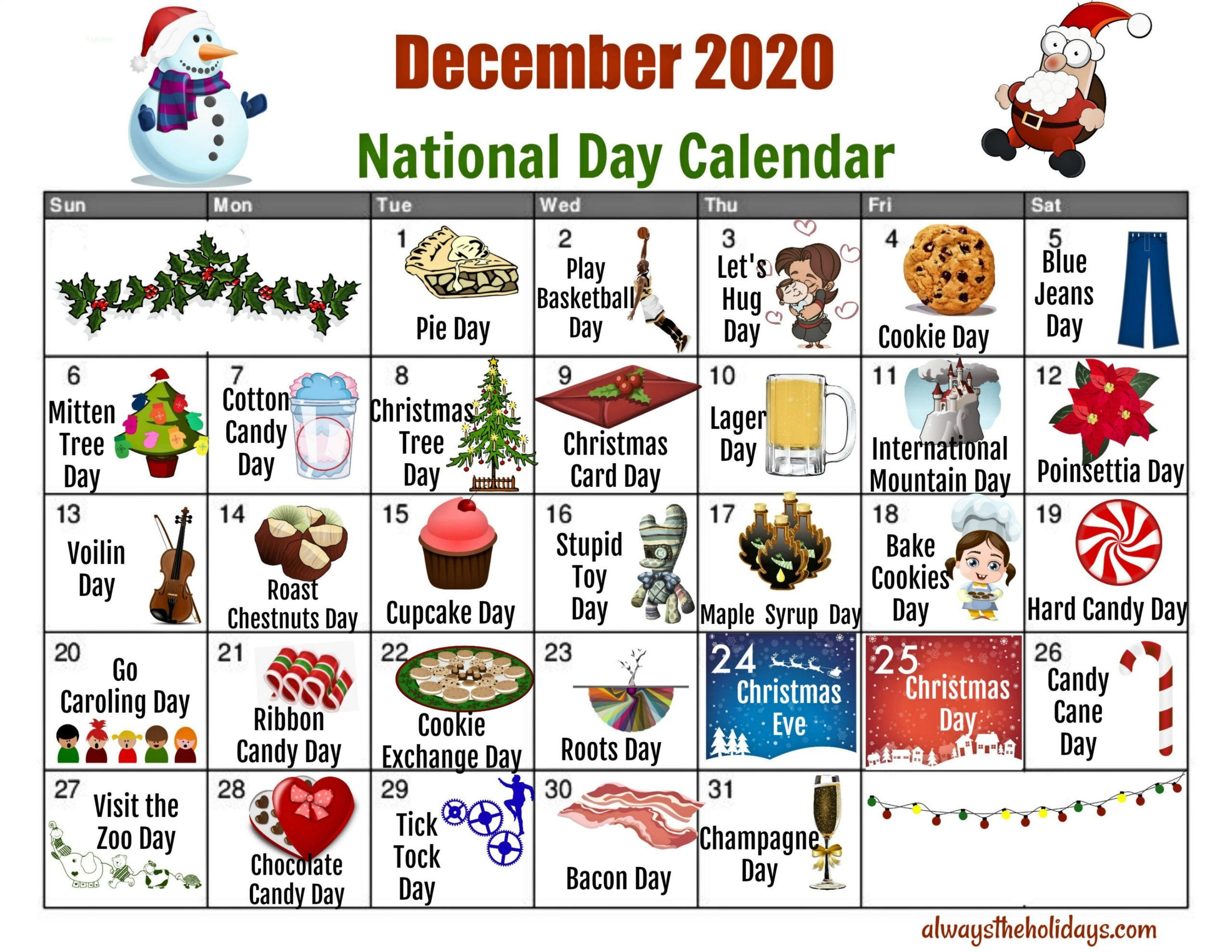 December National Day Calendar - Free Printable Calendars-Fun National Day Calendar Of 2021 Printable