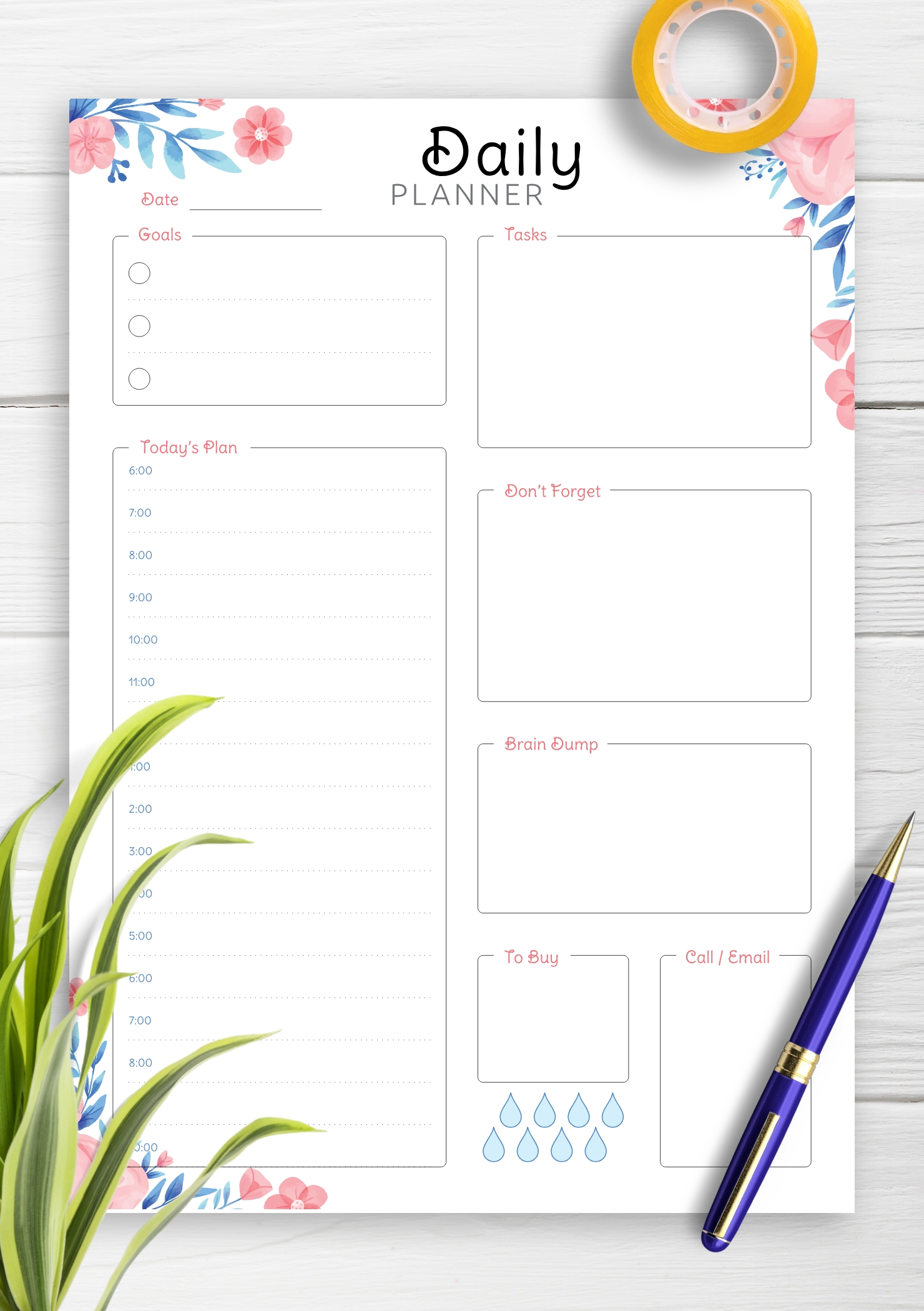 Download Printable Hourly Planner With Daily Tasks & Goals Pdf-Calendar January 2021 Hourly Daily Task List Template