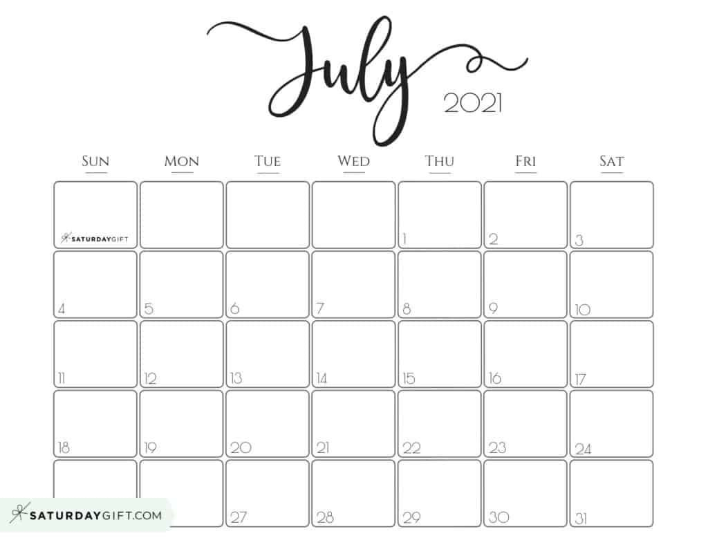 Elegant 2021 Calendar By Saturdaygift - Pretty Printable-2021 Calendar Free Printable-Monthly Bills