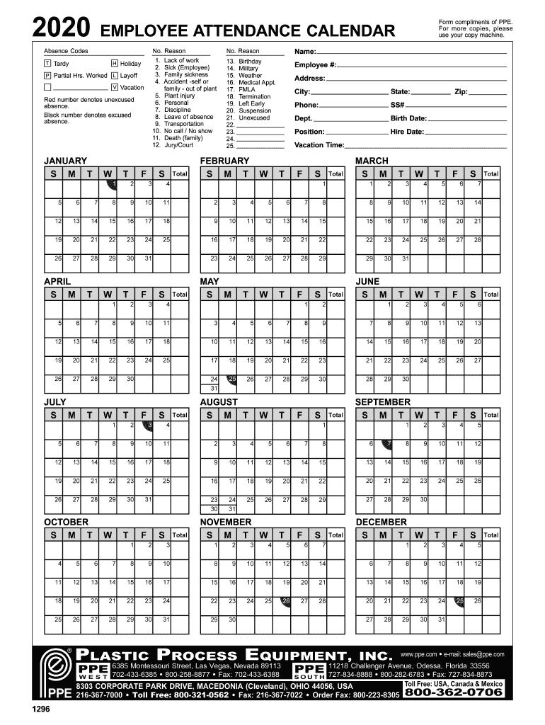 Employee Attendance Calendar 2020 - Fill Online, Printable-Printable 2021 Atteance Calendar