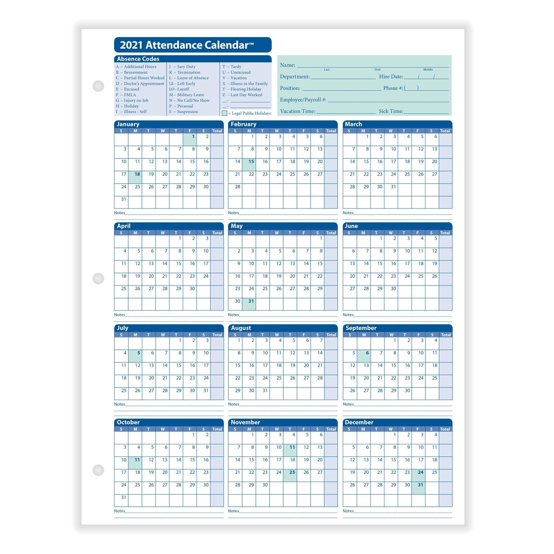 Employee Attendance Calendar-2021 Printable Attendance Tracker