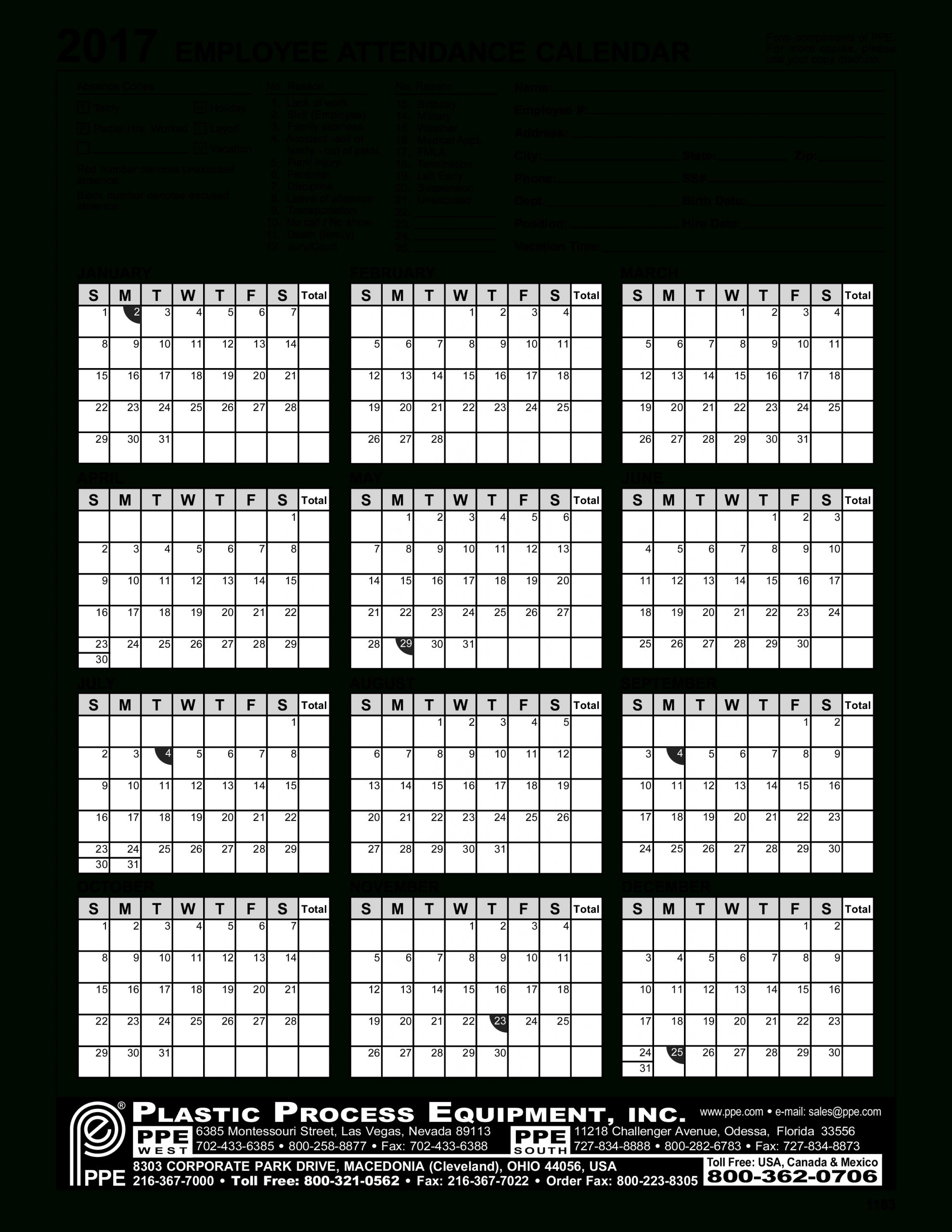 Employee Attendance Calendar | Templates At-2021 Printable Attendance Tracker