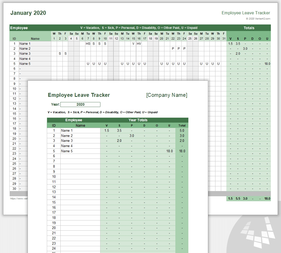 Employee Leave Tracker Template - Leave Schedule-2021 Vacation Speadsheet