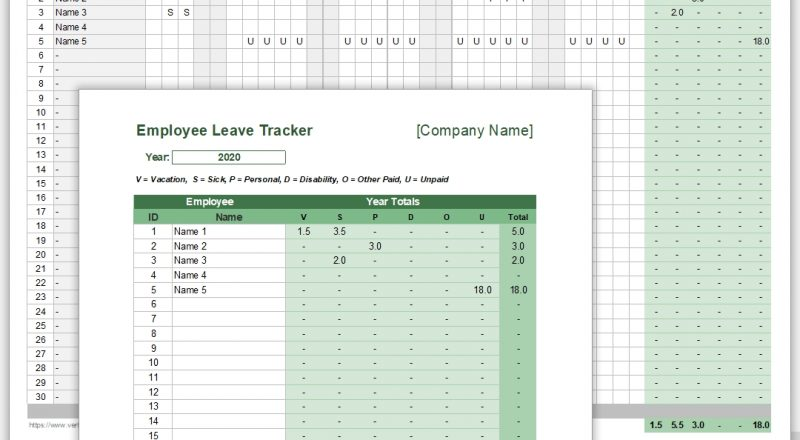 Employee Leave Tracker Template - Leave Schedule-Free Employee Vacation Template 2021