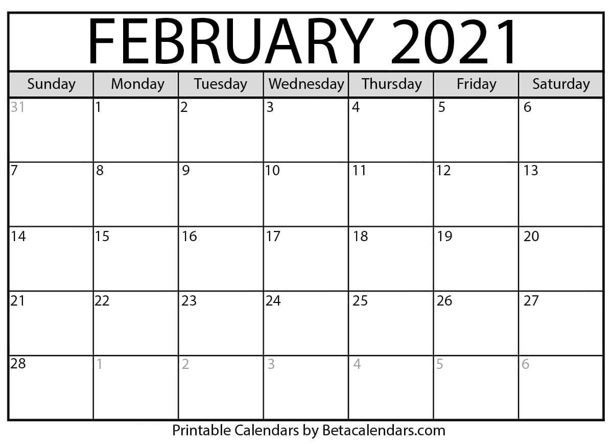 February 2021 Calendar | Blank Printable Monthly Calendars-2021 Calendar That Shows Only Monday Through Friday