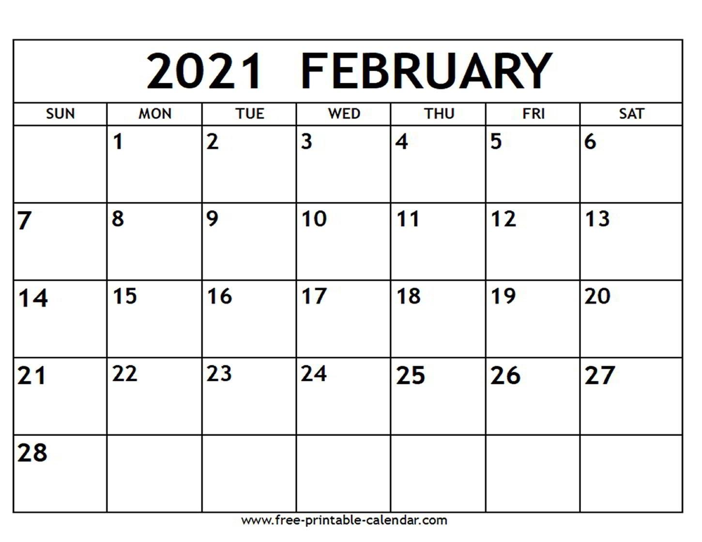February 2021 Calendar - Free-Printable-Calendar-Printable Calendar 2021