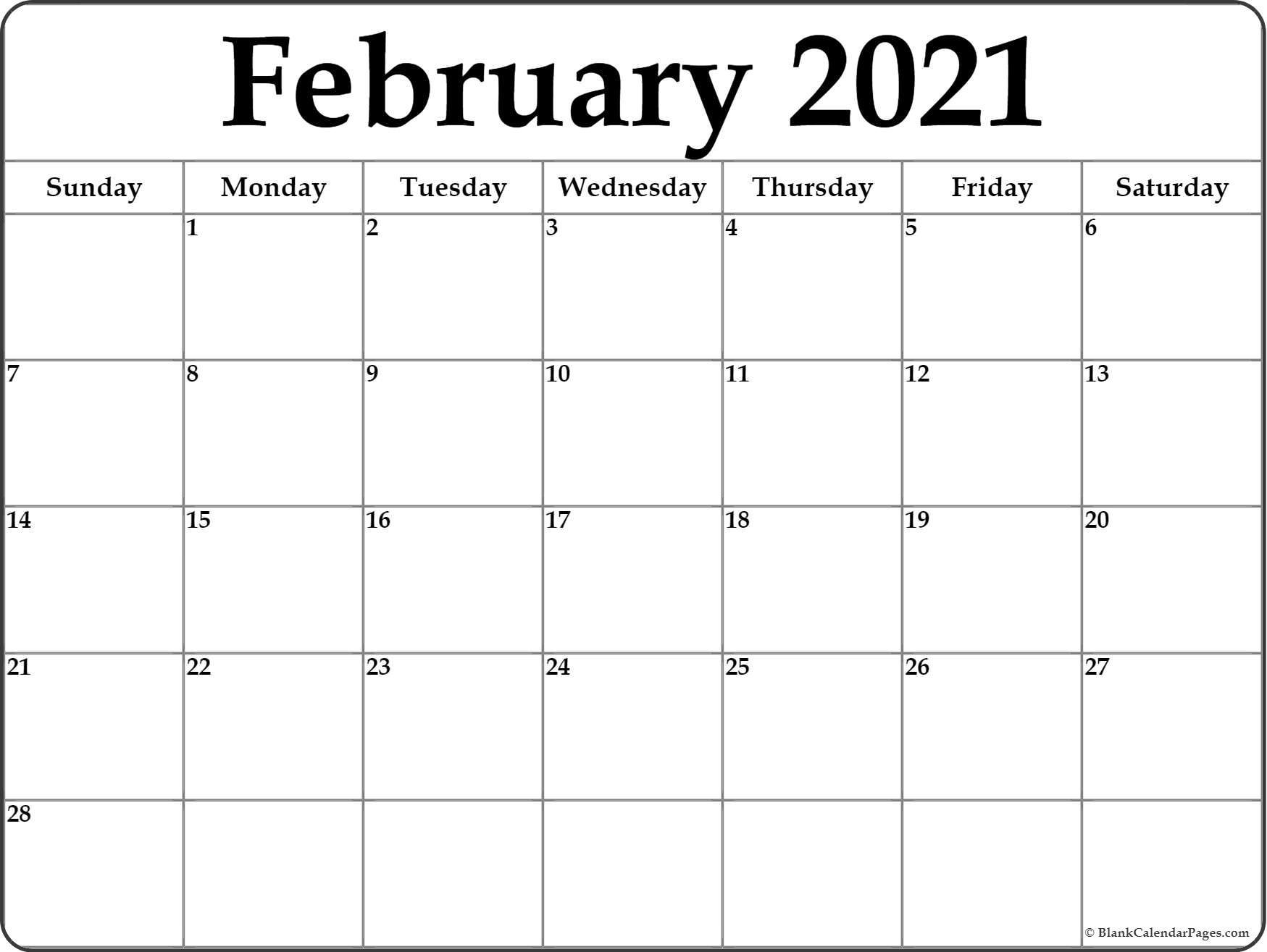 February 2021 Calendar | Free Printable Monthly Calendars-2021 Monthly Calendar Template Word