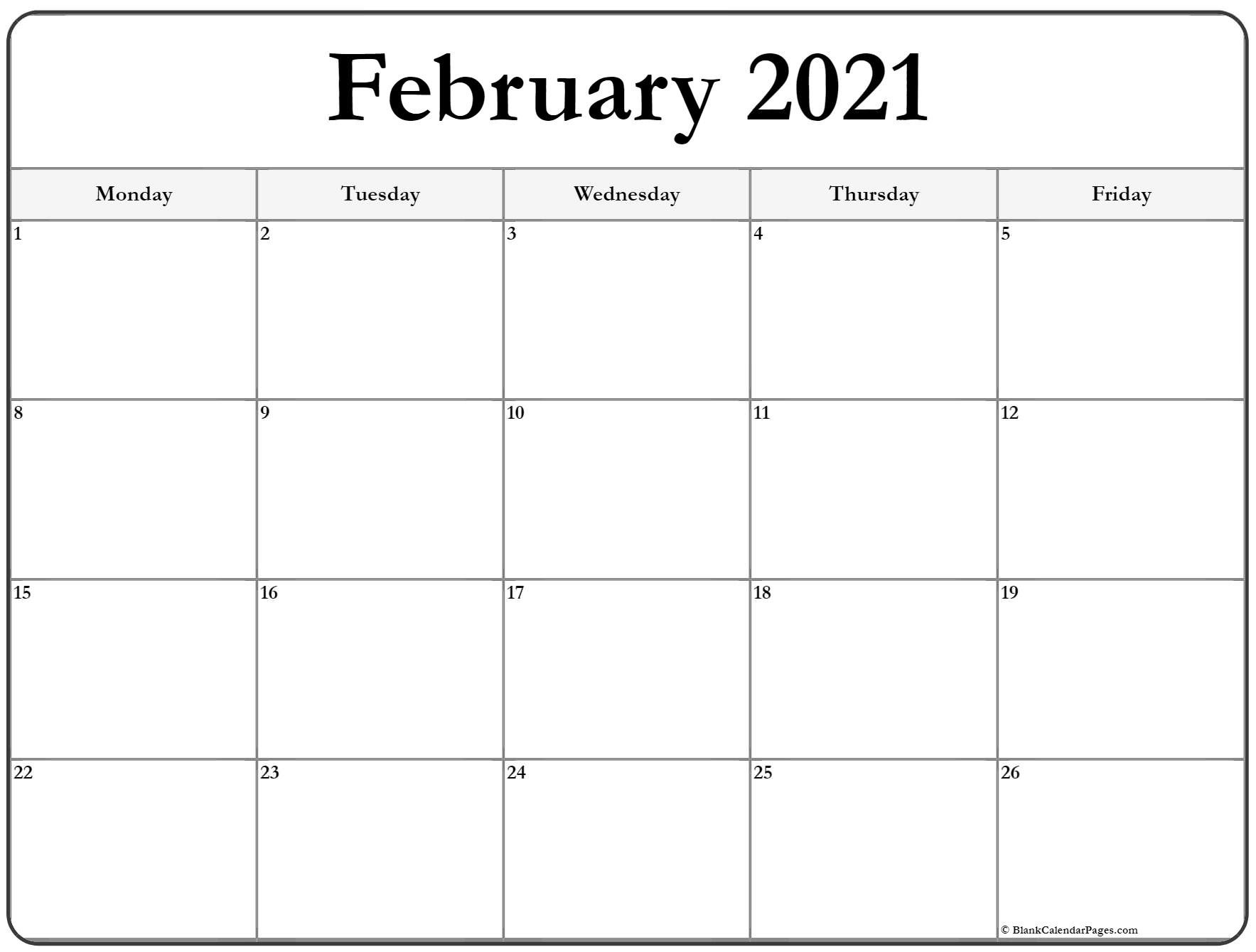 February 2021 Monday Calendar | Monday To Sunday-2021 Calendar That Shows Only Monday Through Friday