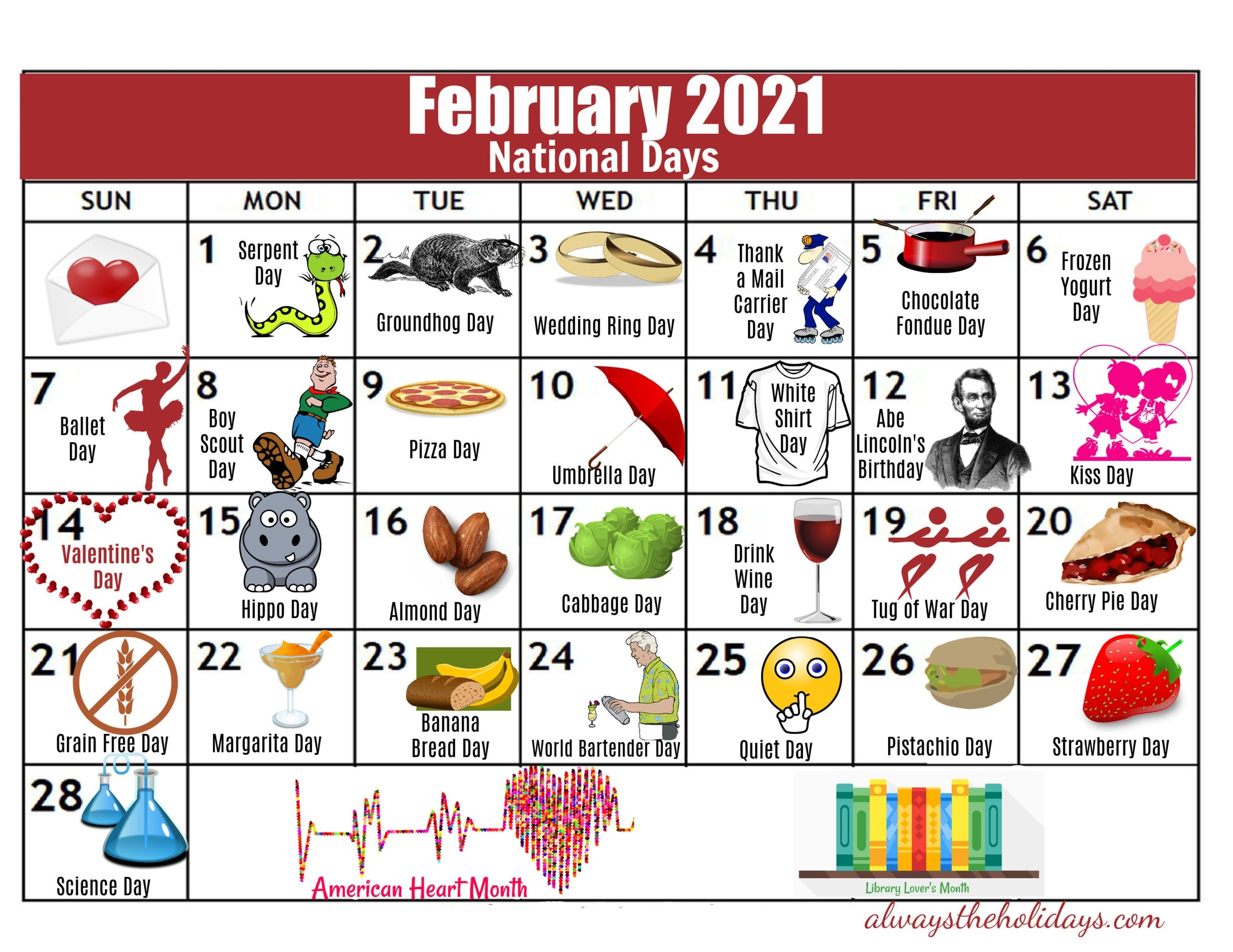February National Day Calendar - 2021 Free Printable Calendars-National Food Holiday 2021 Calendar