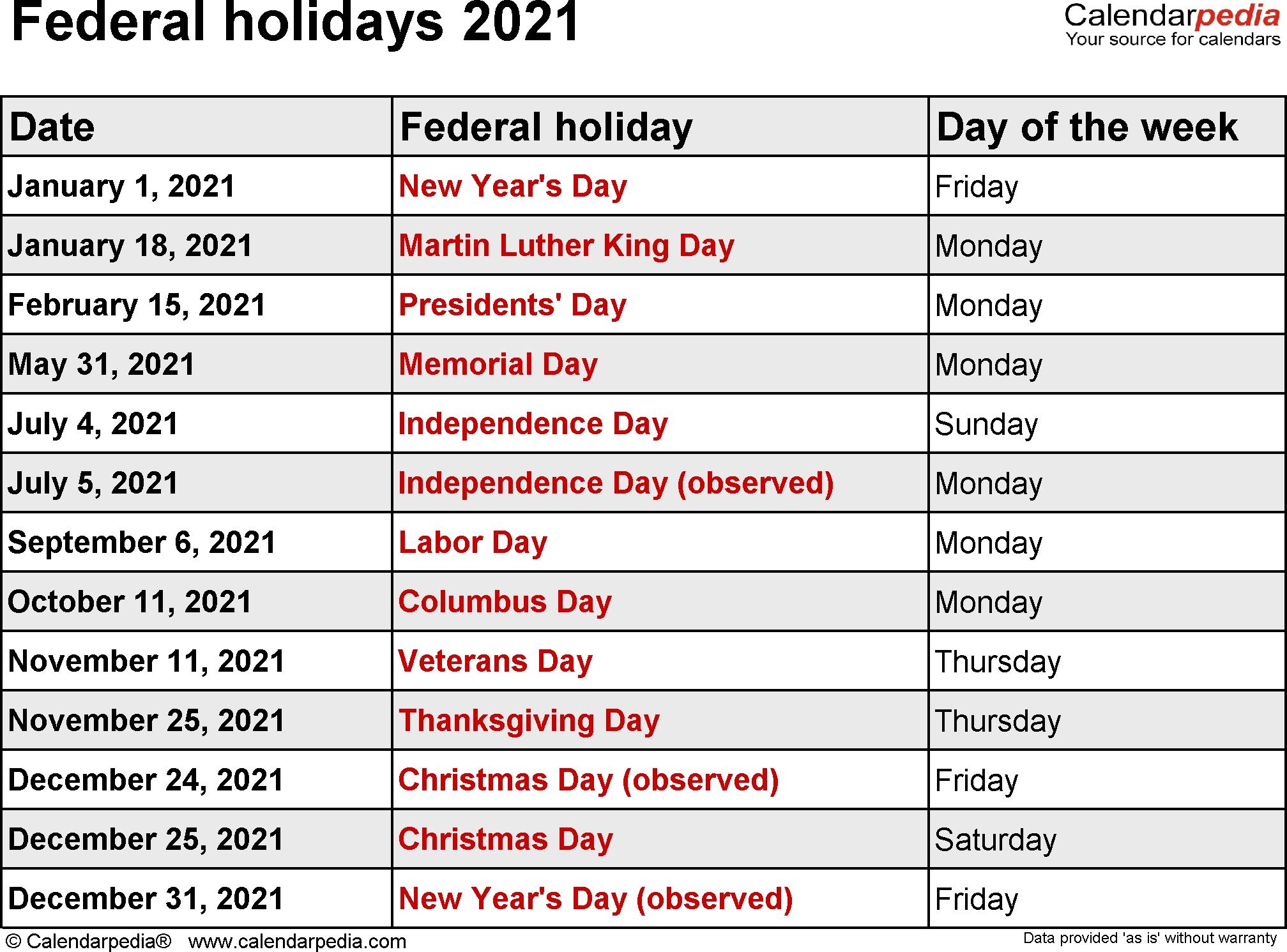 Federal Holidays 2021-Bank Holidays Calendar 2021