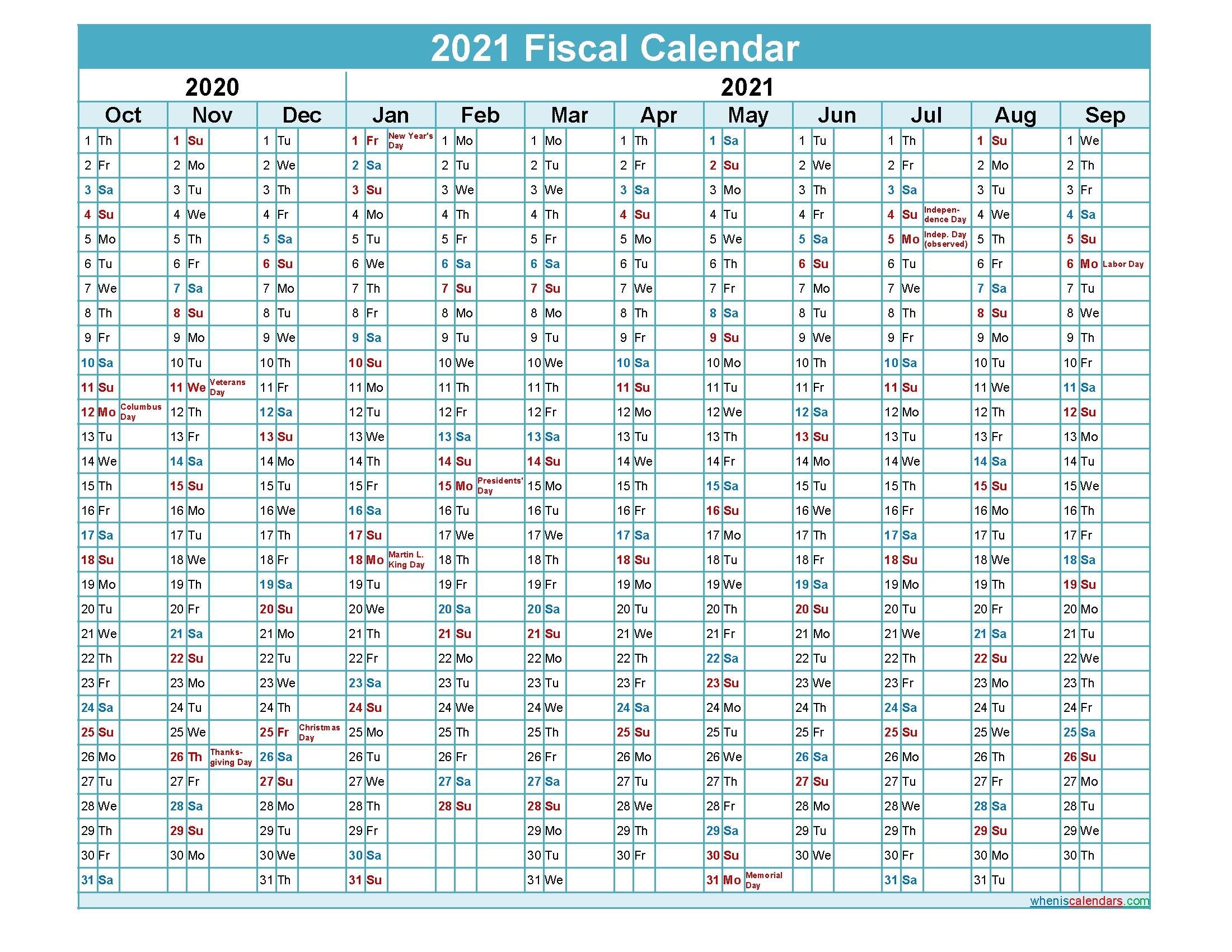 Fiscal Calendar 2021 Federal Fiscal Year - Template No-Fiscal Calendar For October 2021