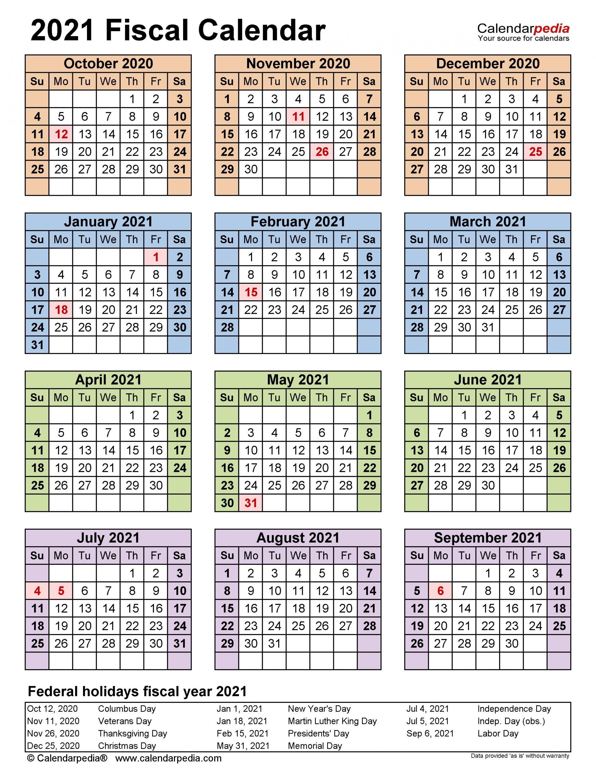 Fiscal Calendars 2021 - Free Printable Pdf Templates-Fiscal Calendar For October 2021