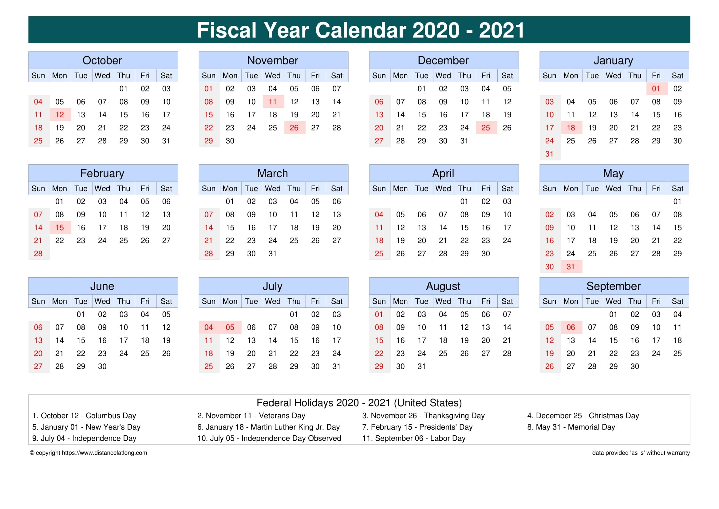Fiscal Year 2020-2021 Calendar Templates, Free Printable-Fiscal Calendar For October 2021