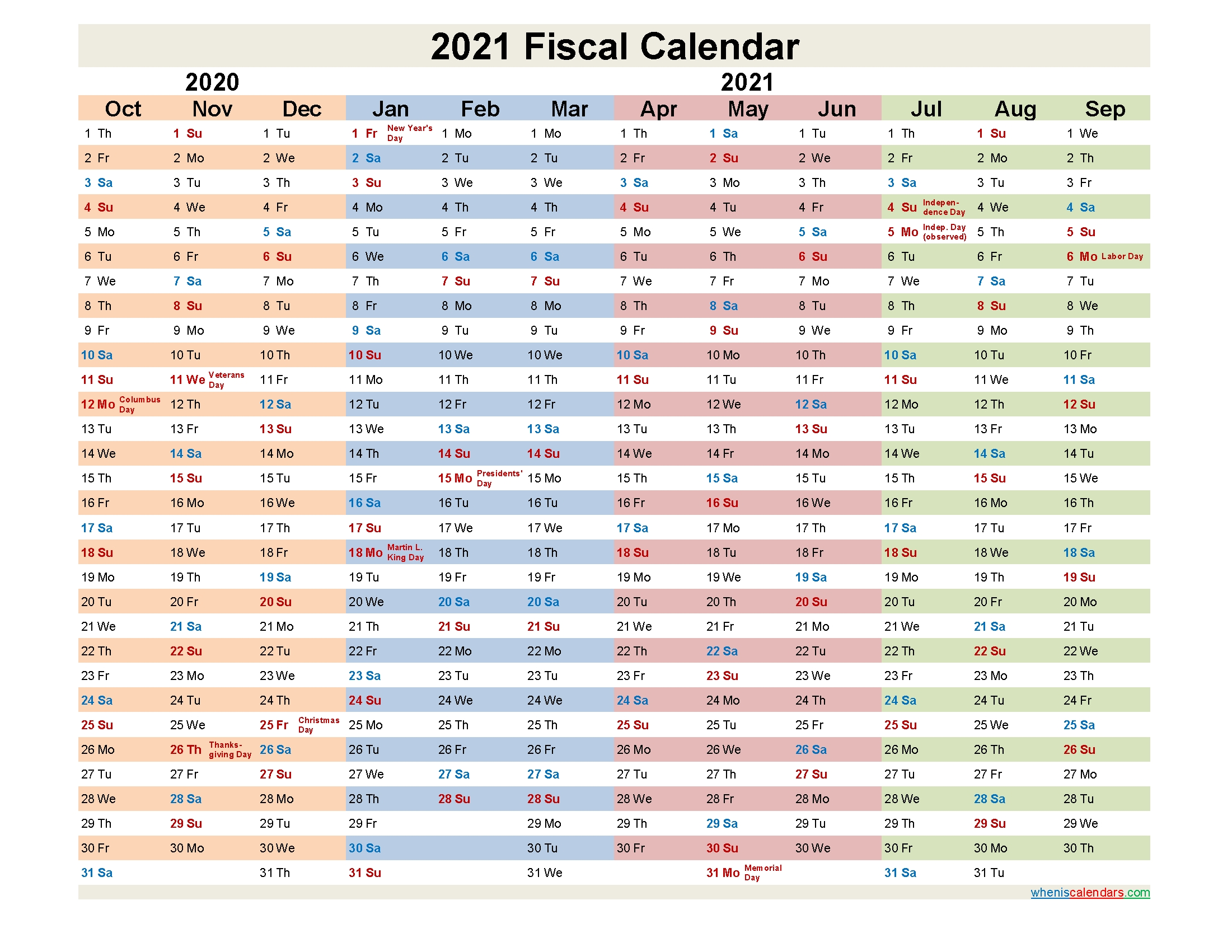 Fiscal Year 2021 Quarters - Template No.fiscal21Y30-Fiscal Calendar For October 2021
