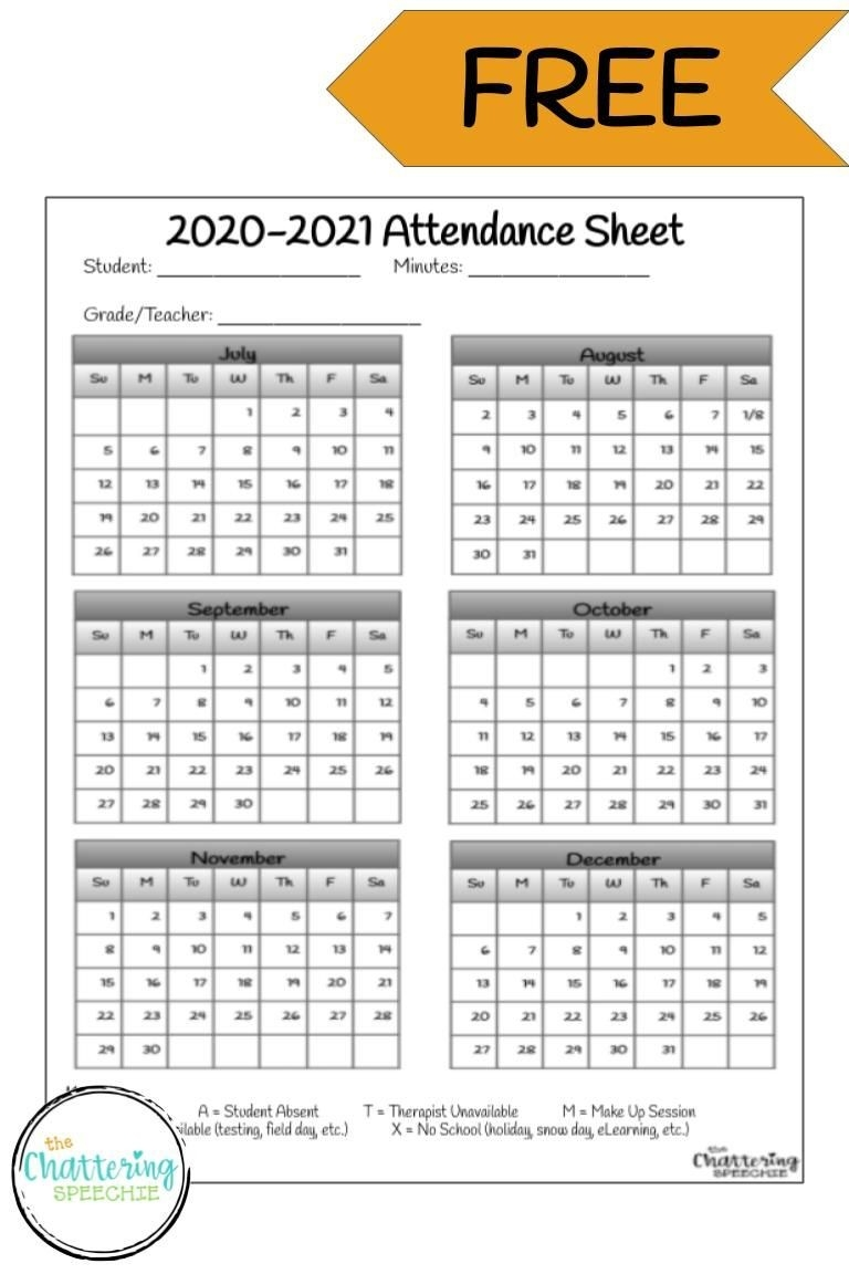 Free 2020-2021 Attendance Sheet For Slps, Ots, And Pts-Attendance Sheet Template For 2021