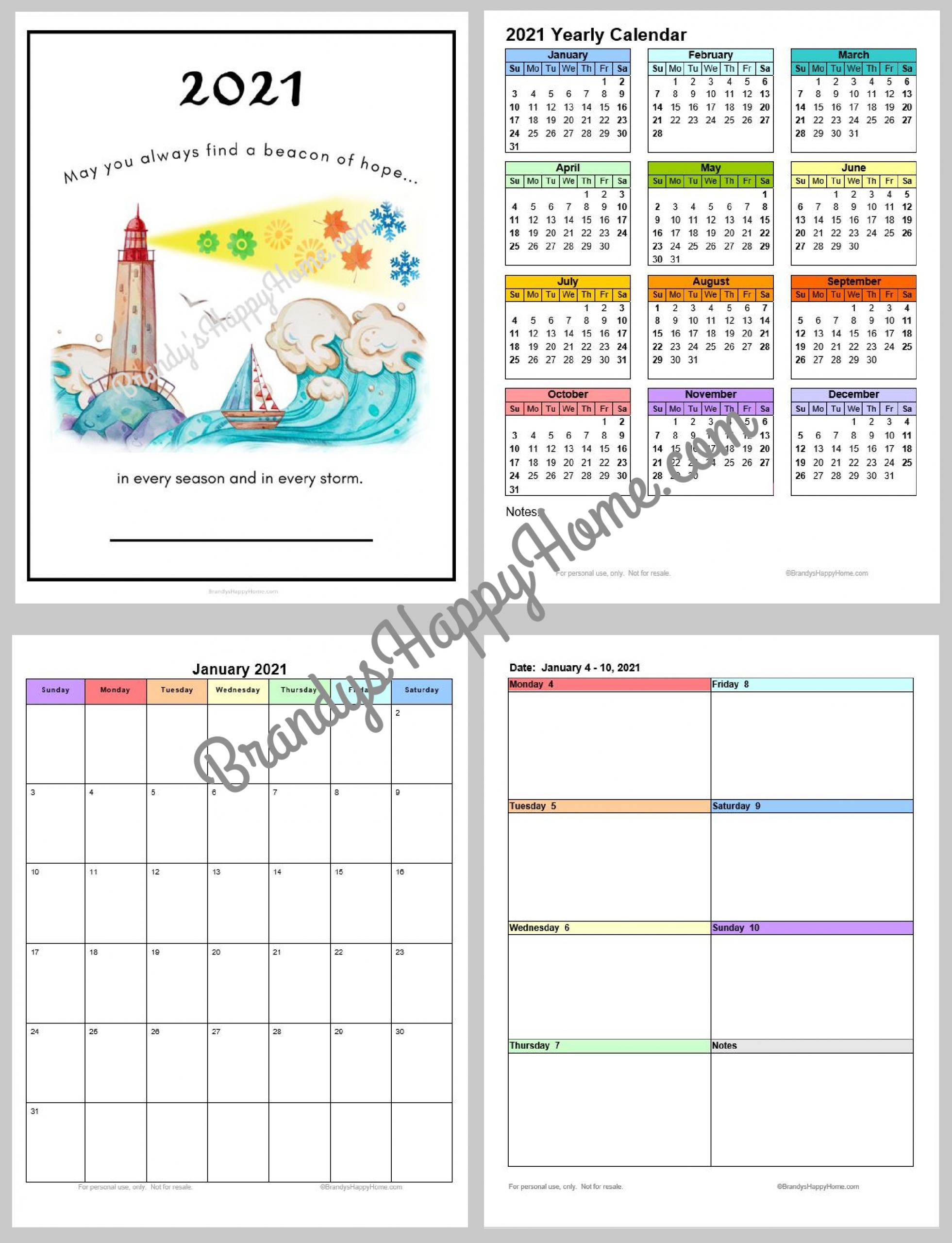 Free 2021 Calendar Planner Printables-4X6 Free Printables 2021 Calendars