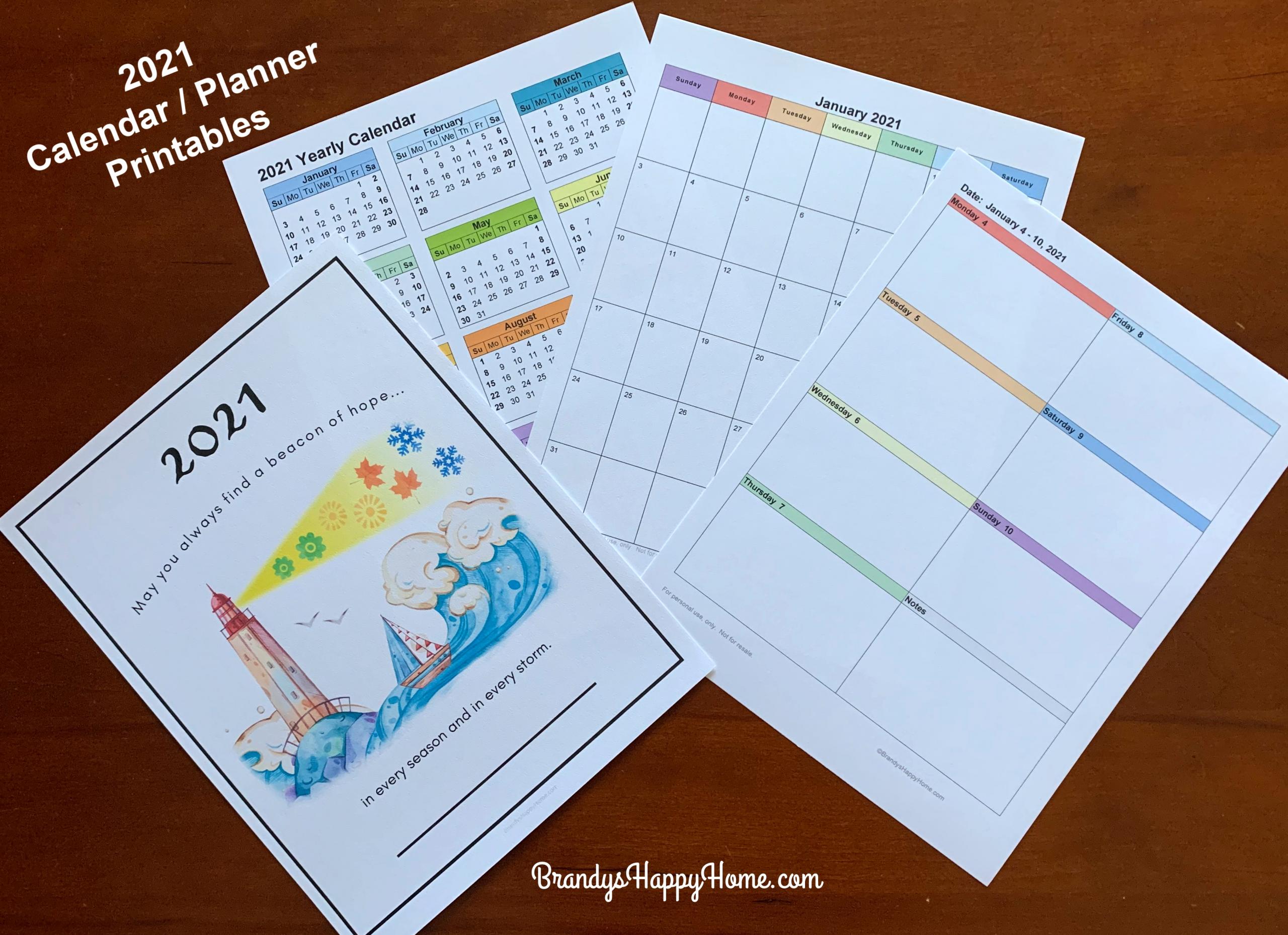 Free 2021 Calendar Planner Printables-Free Printable 2021 Happy Planner