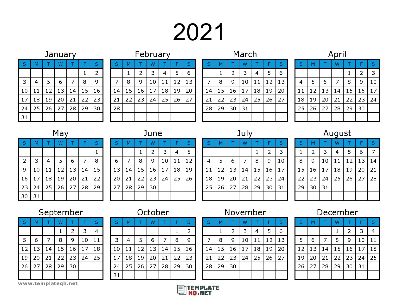 Free 2021 Calendar Printable - Template Hq-2021 Calendar Printable